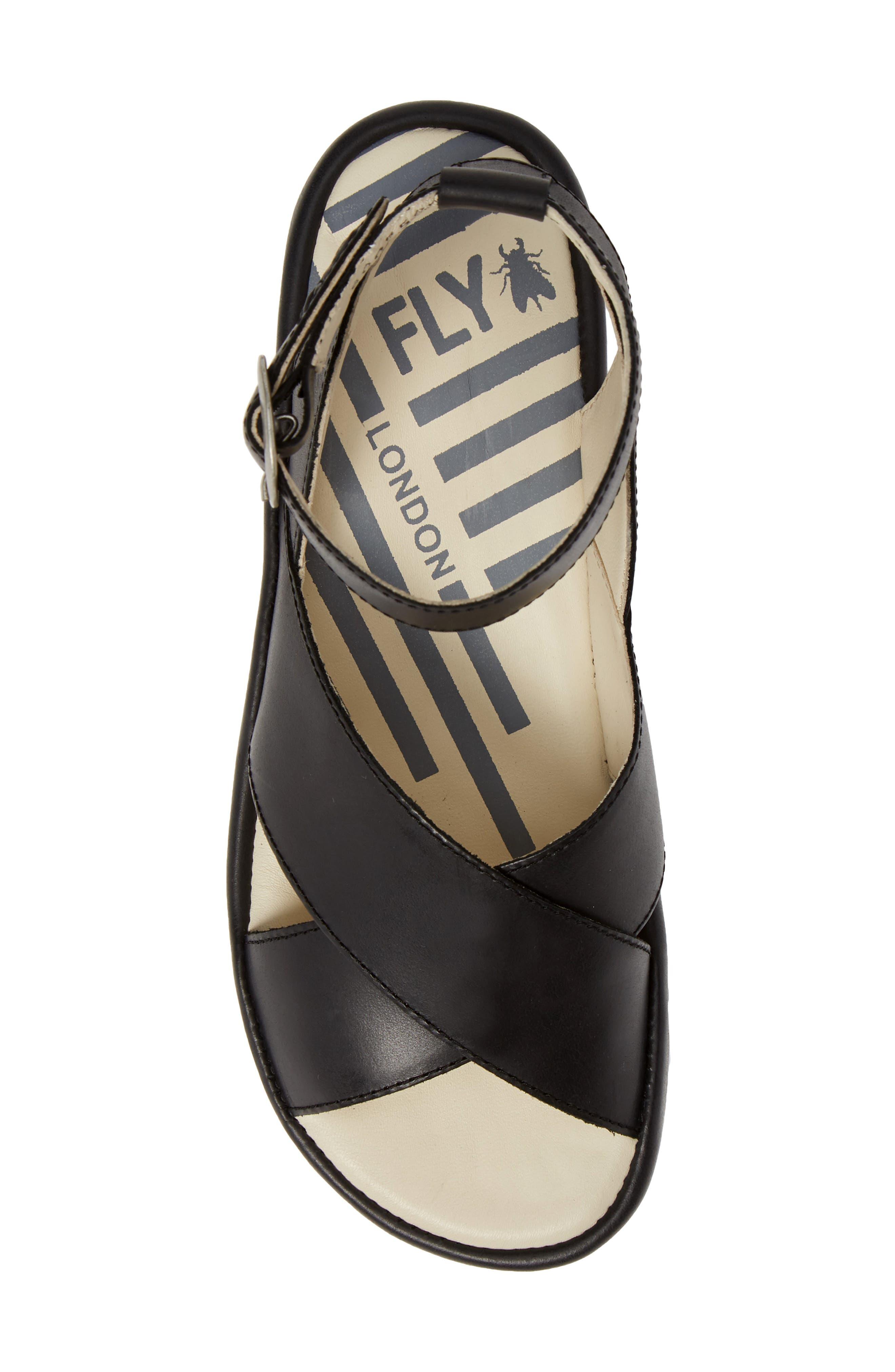FLY LONDON,                             Bite Wedge Sandal,                             Alternate thumbnail 5, color,                             BLACK LEATHER