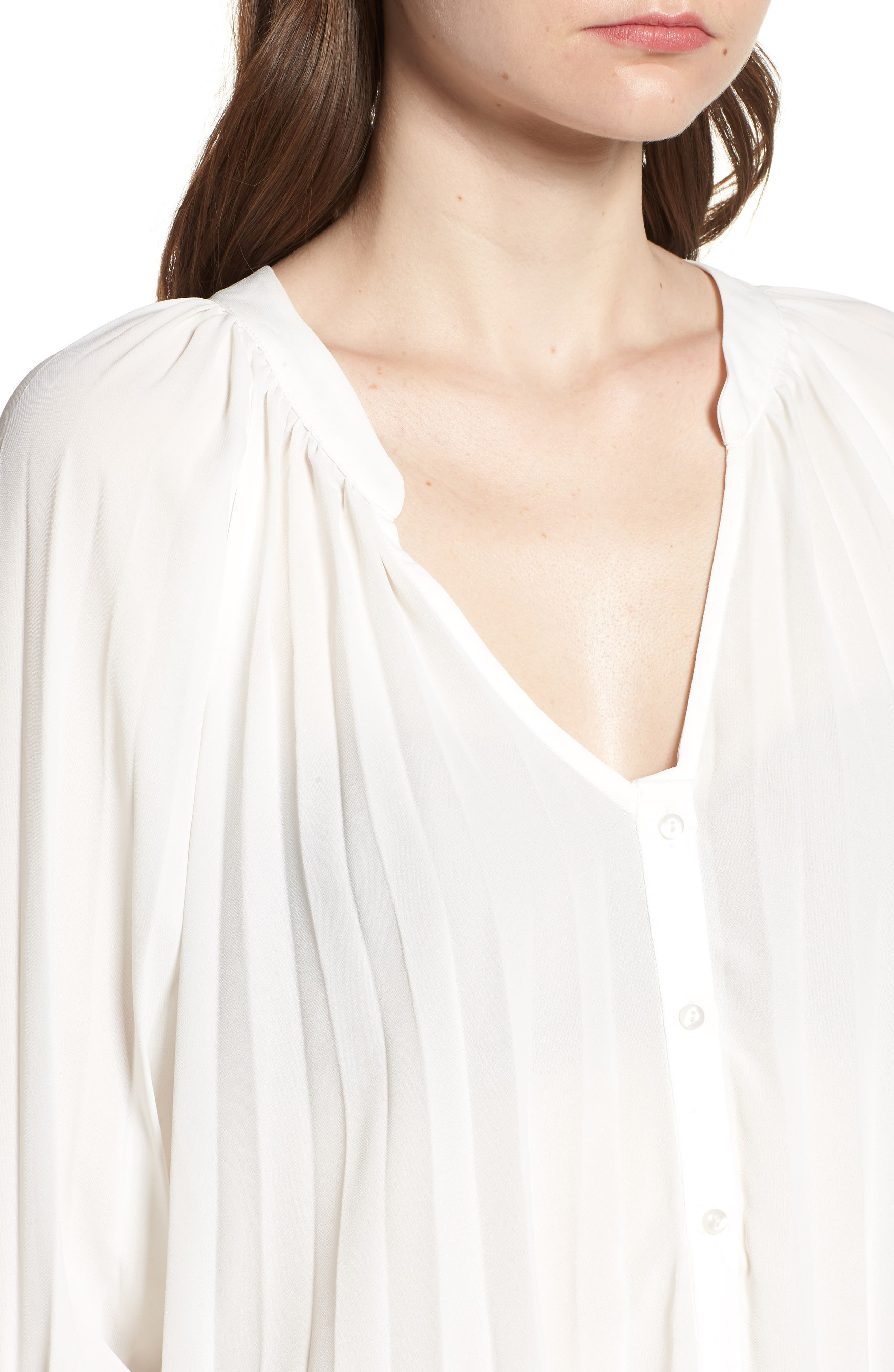 Bishop + Young Pleated Top,                             Alternate thumbnail 4, color,                             WHITE