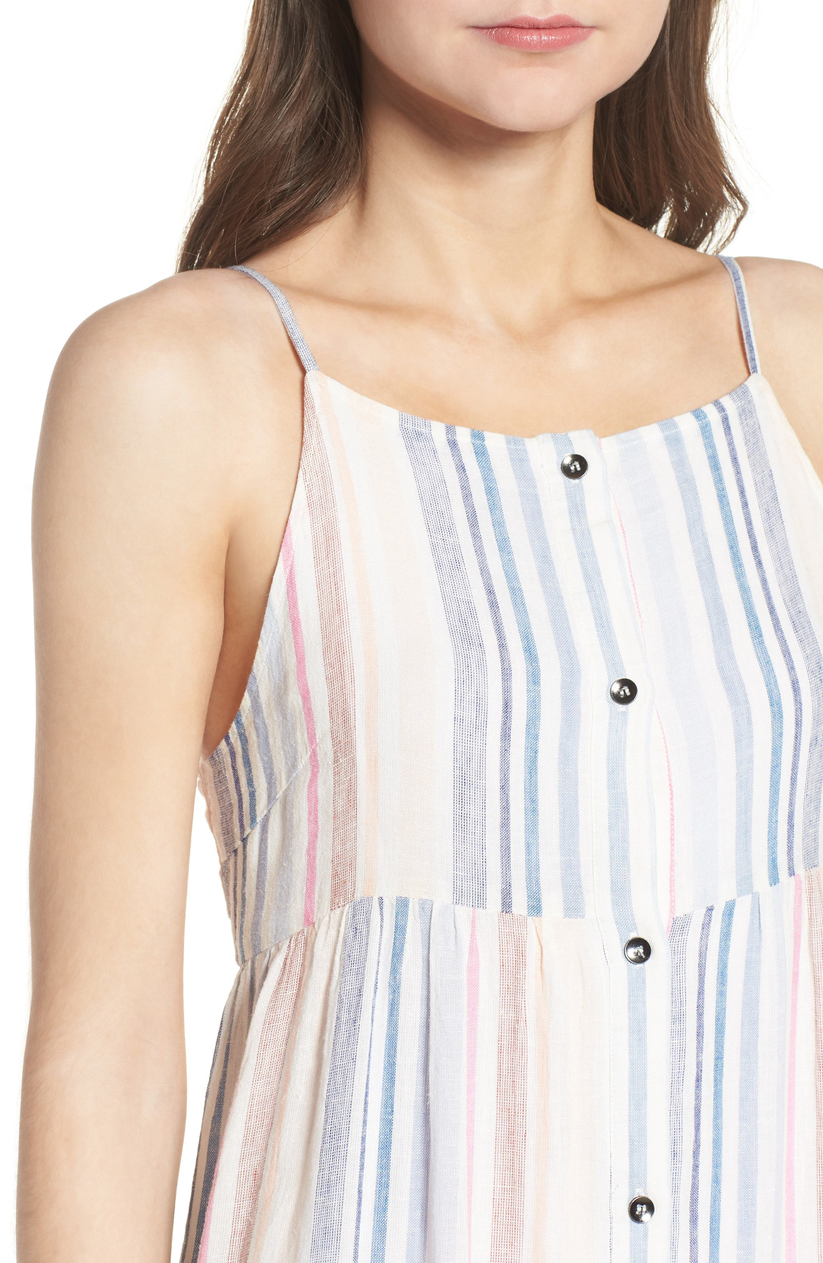 Multistripe Linen Maxi Dress,                             Alternate thumbnail 4, color,                             400