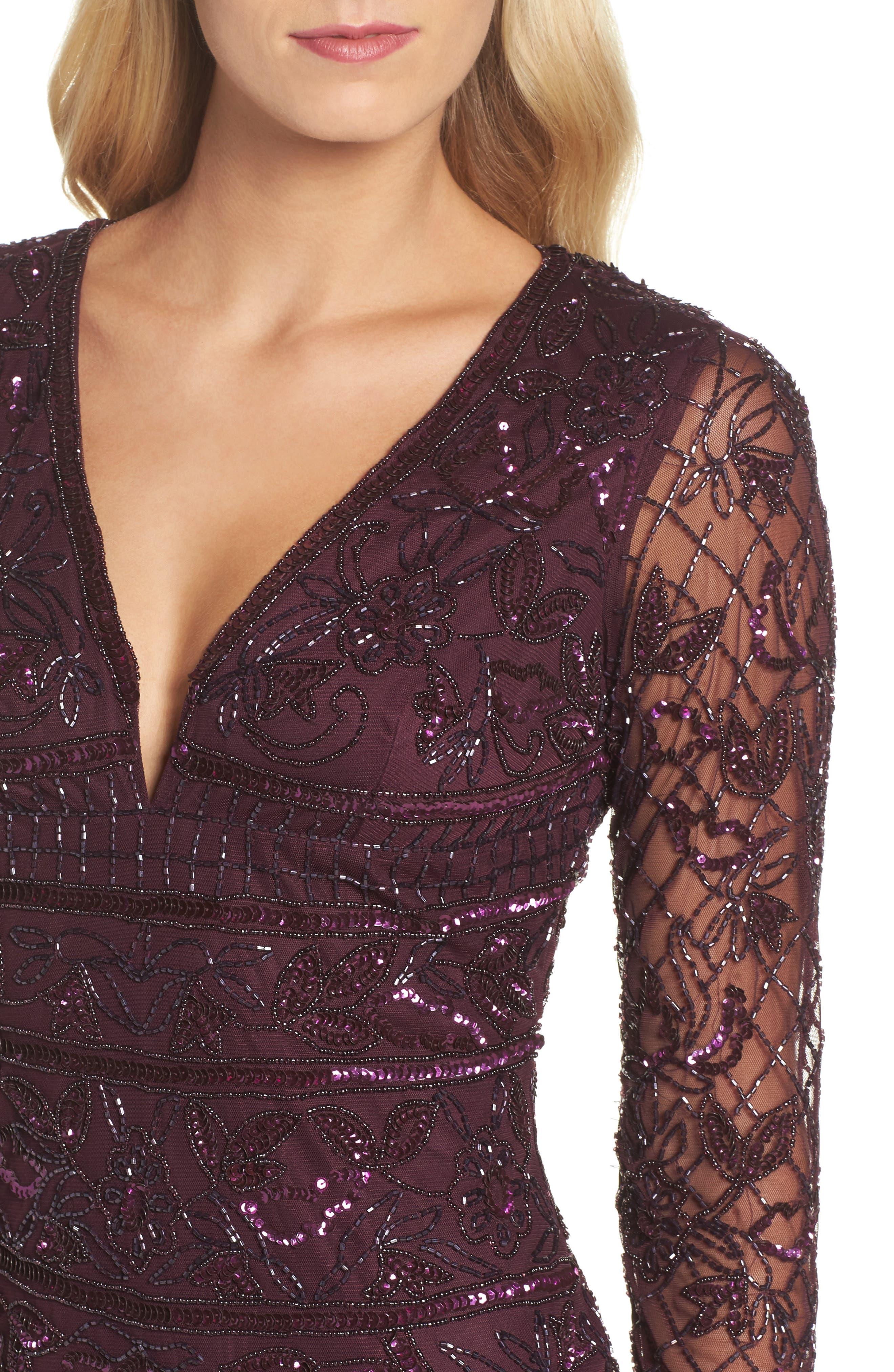 Embellished Deep V-Neck Sheath Dress,                             Alternate thumbnail 4, color,                             504