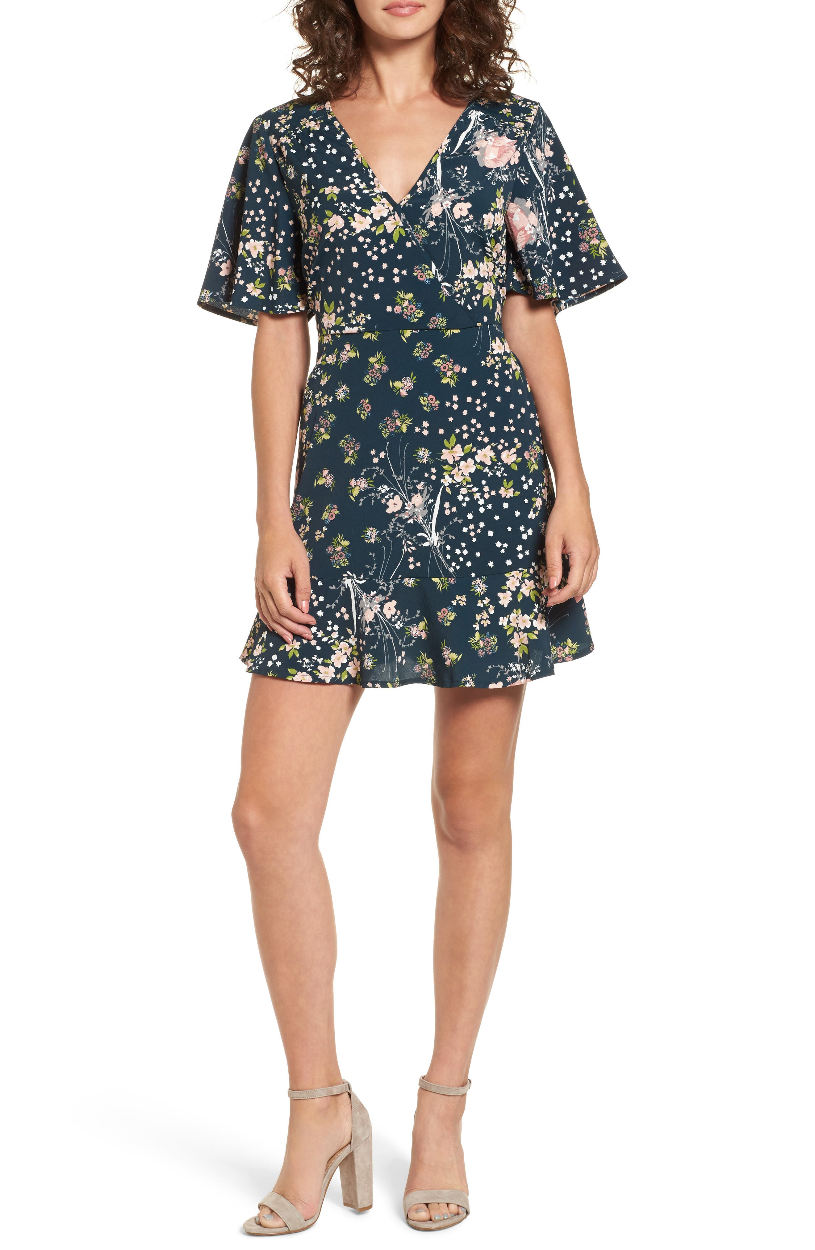 Moody Floral Dress,                             Main thumbnail 1, color,