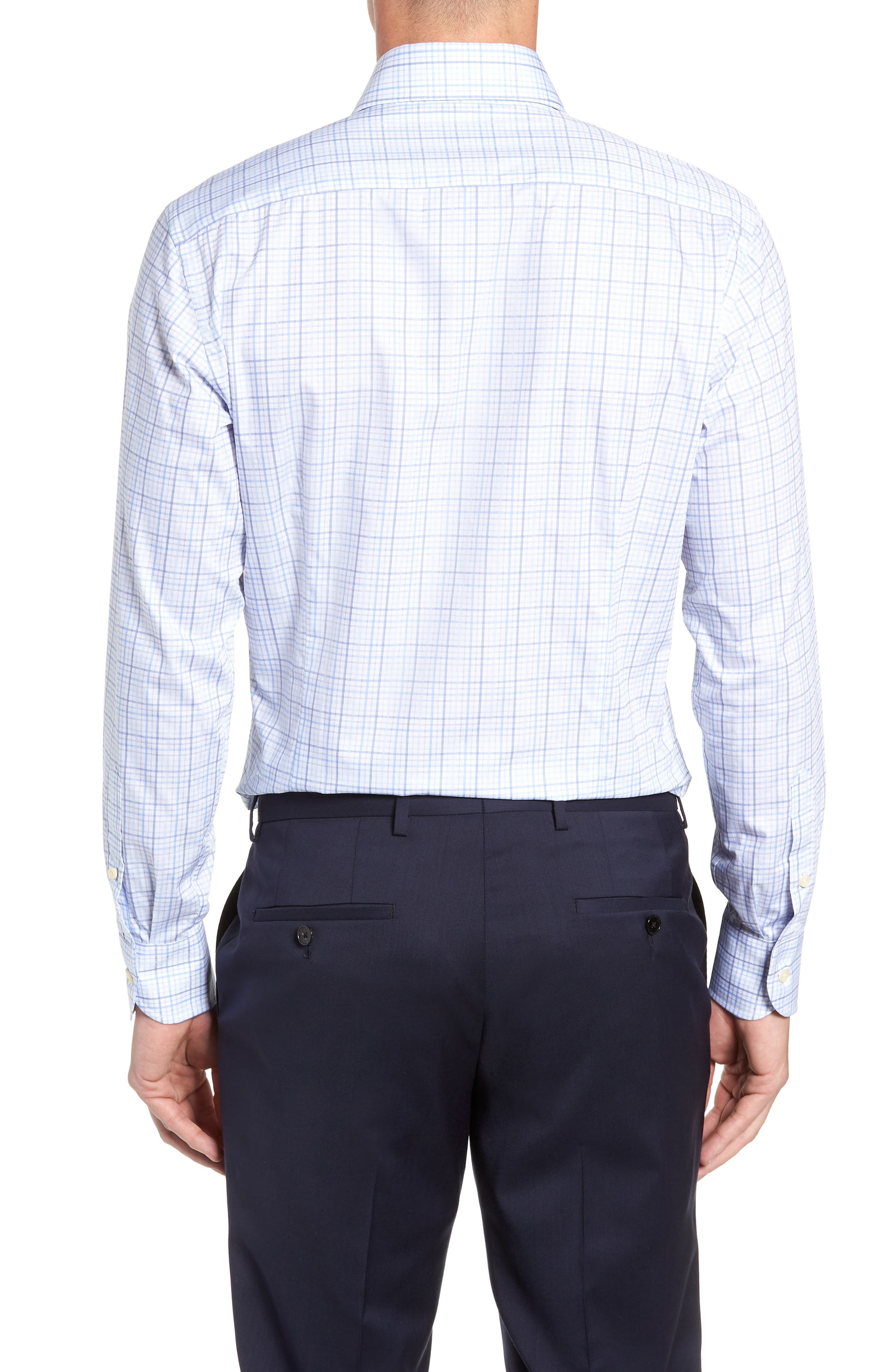 Drazin Trim Fit Check Dress Shirt,                             Alternate thumbnail 3, color,                             BLUE