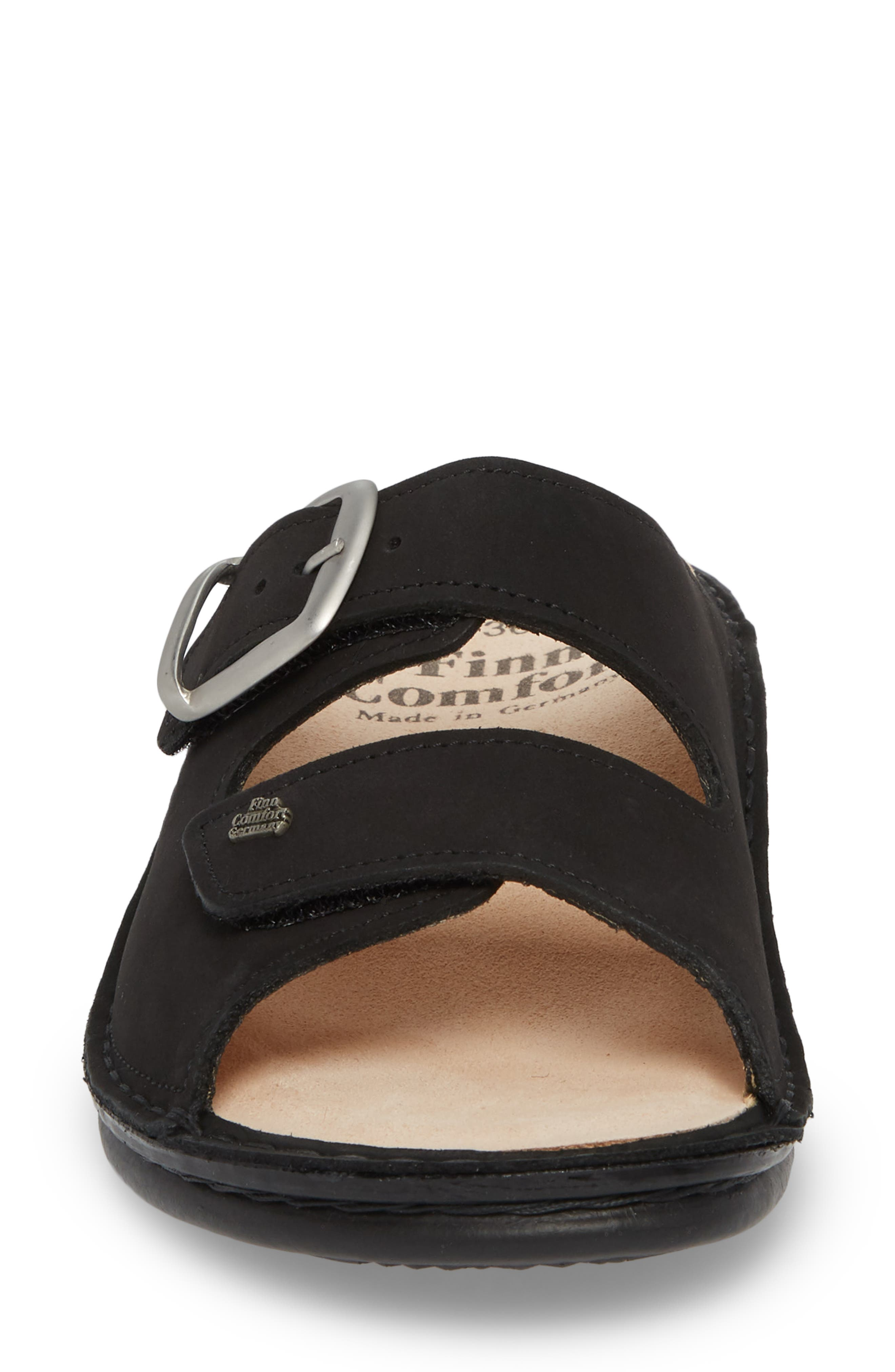 Harper Slide Sandal,                             Alternate thumbnail 4, color,                             BLACK LEATHER