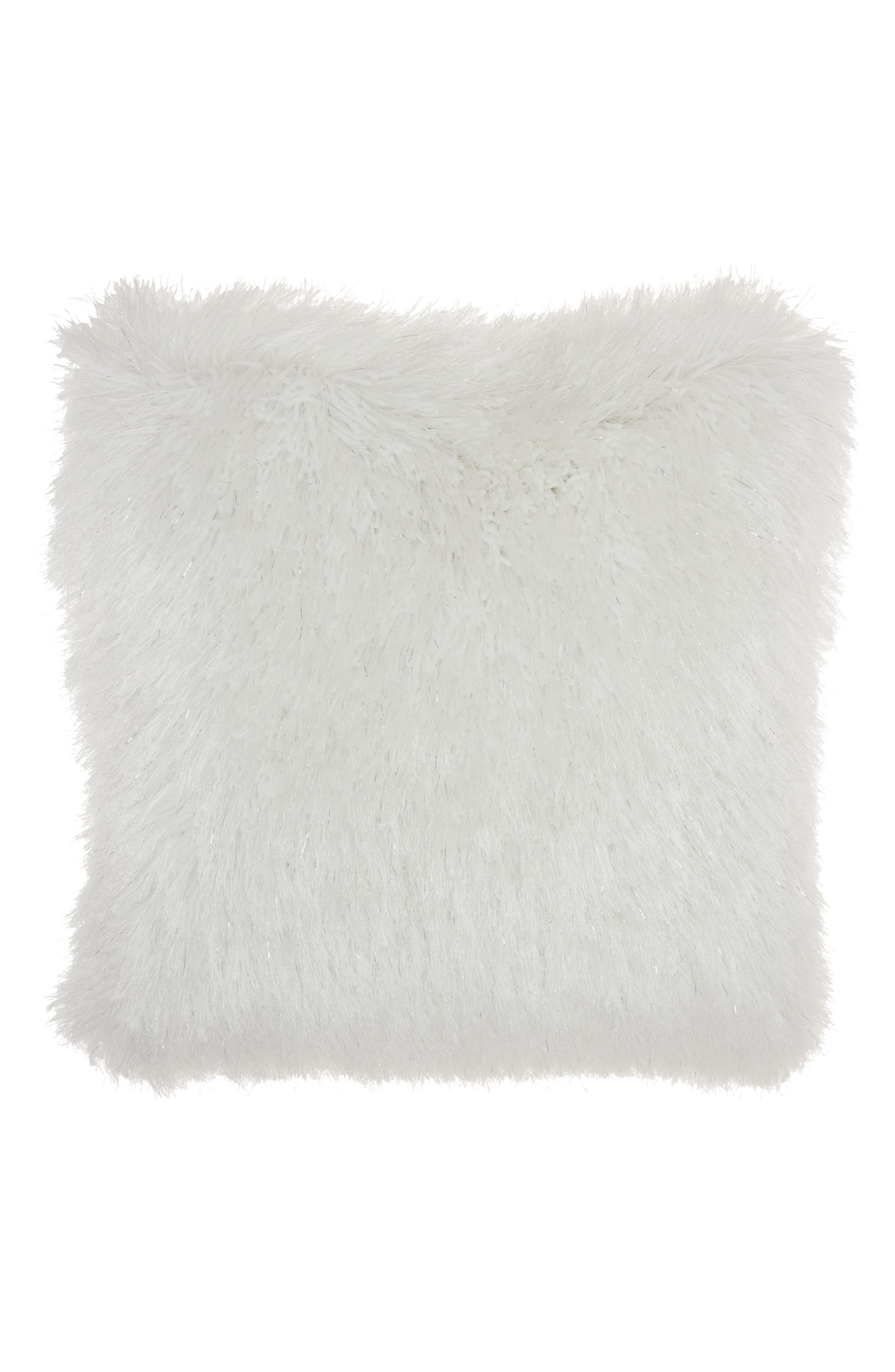 Shag Pillow,                             Main thumbnail 1, color,                             WHITE