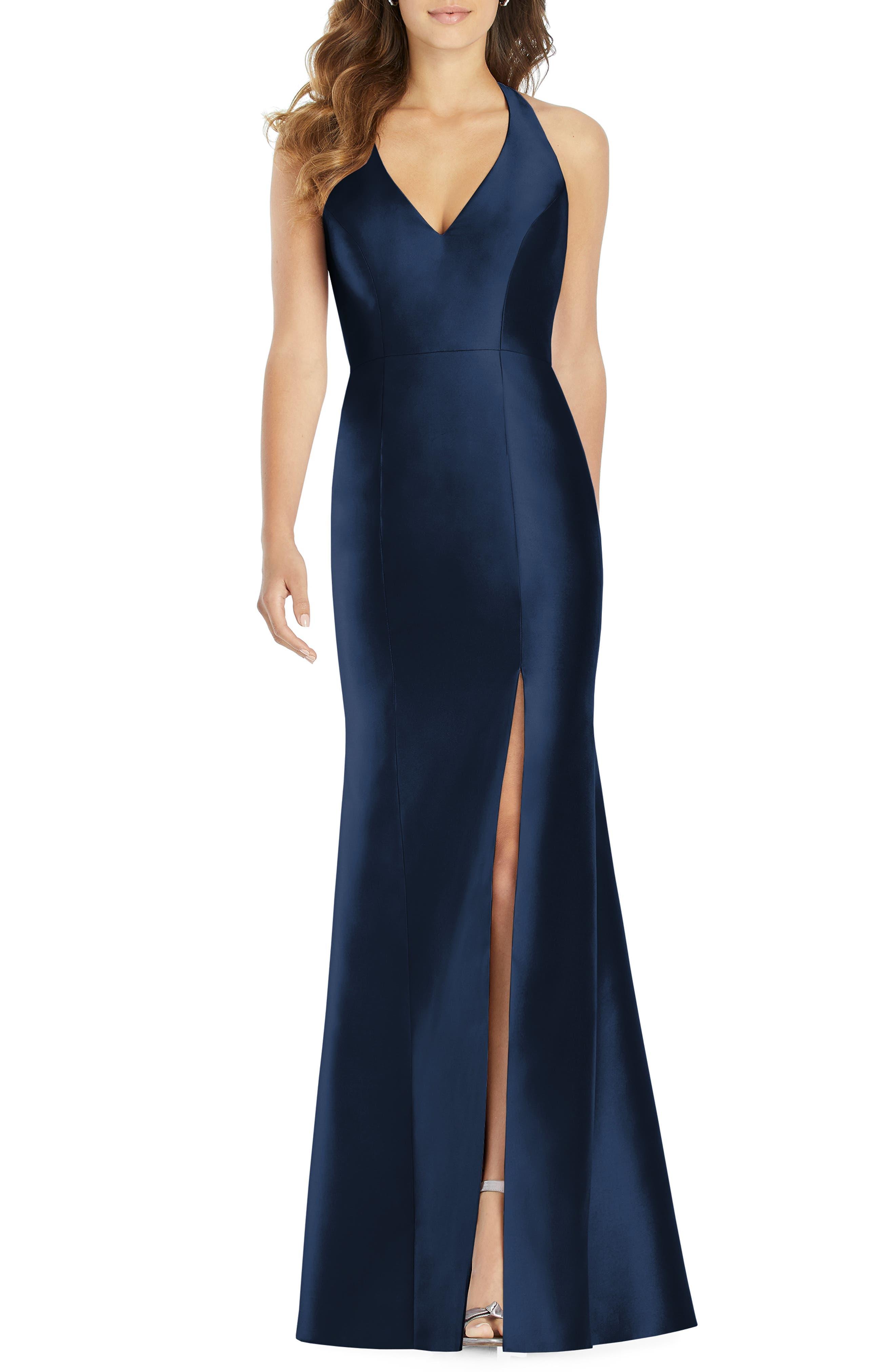 Alfred Sung Halter Neck Sateen Twill Trumpet Gown, Blue