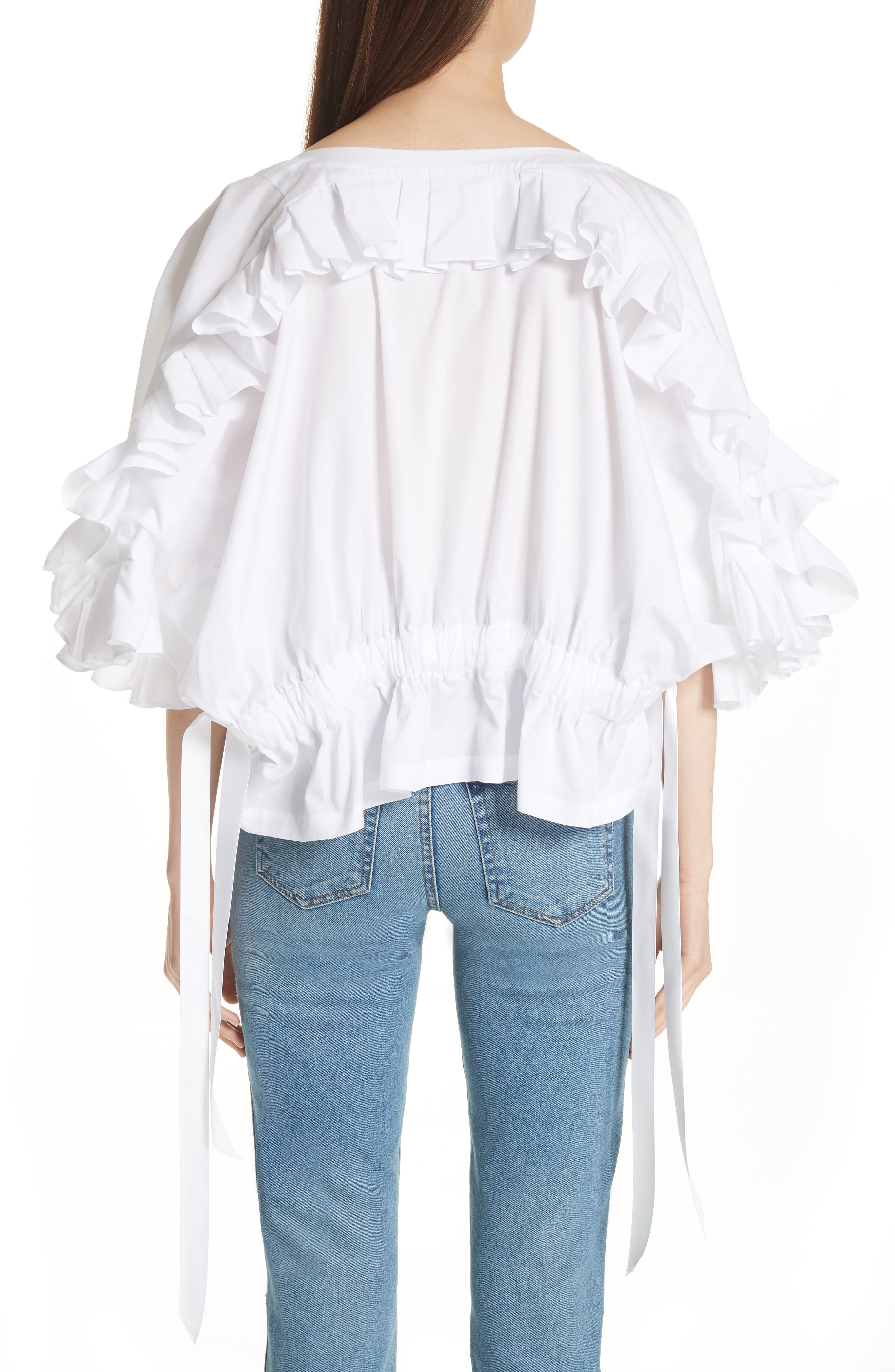 Crop Ruffle Top,                             Alternate thumbnail 4, color,