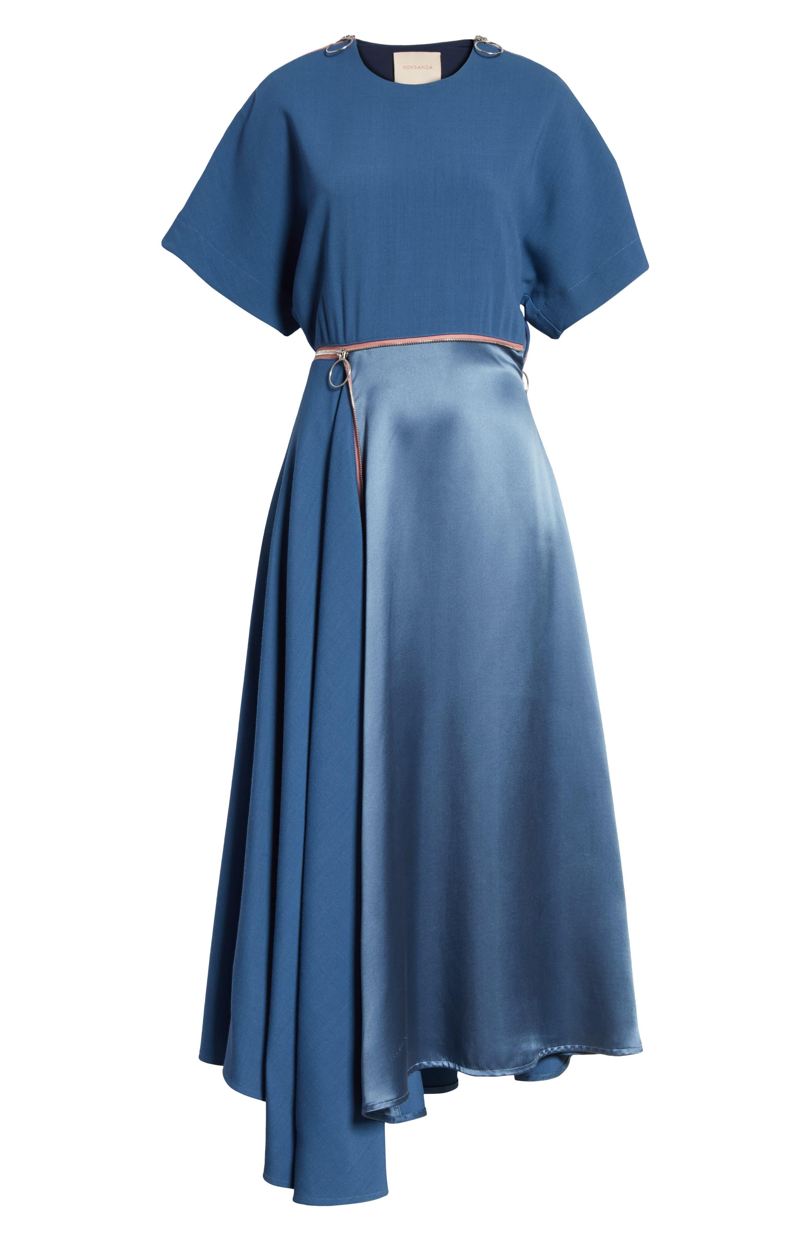 Gianna Asymmetrical Satin Dress,                             Alternate thumbnail 7, color,                             400
