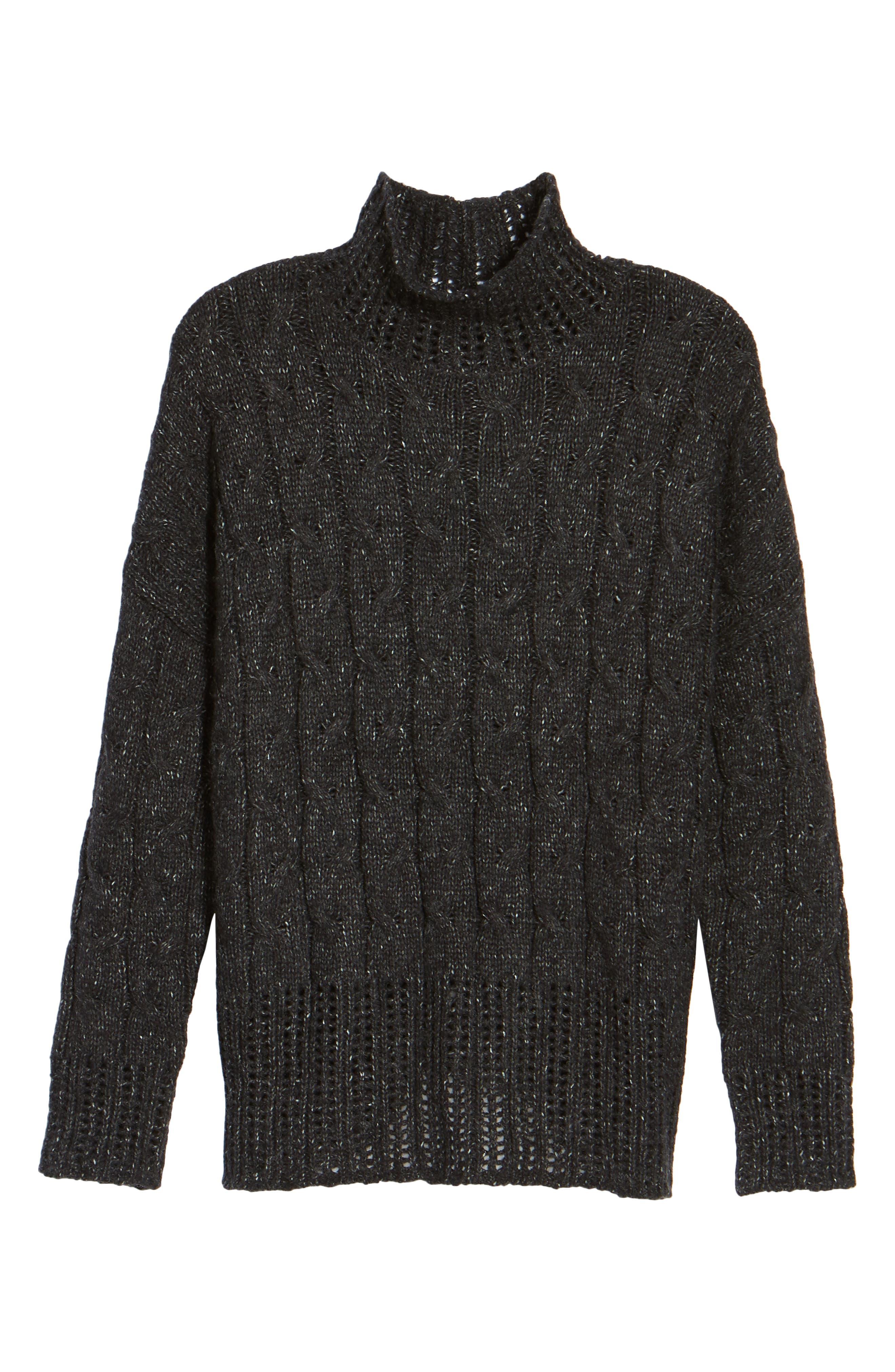 Pointelle Turtleneck Sweater,                             Alternate thumbnail 6, color,                             001