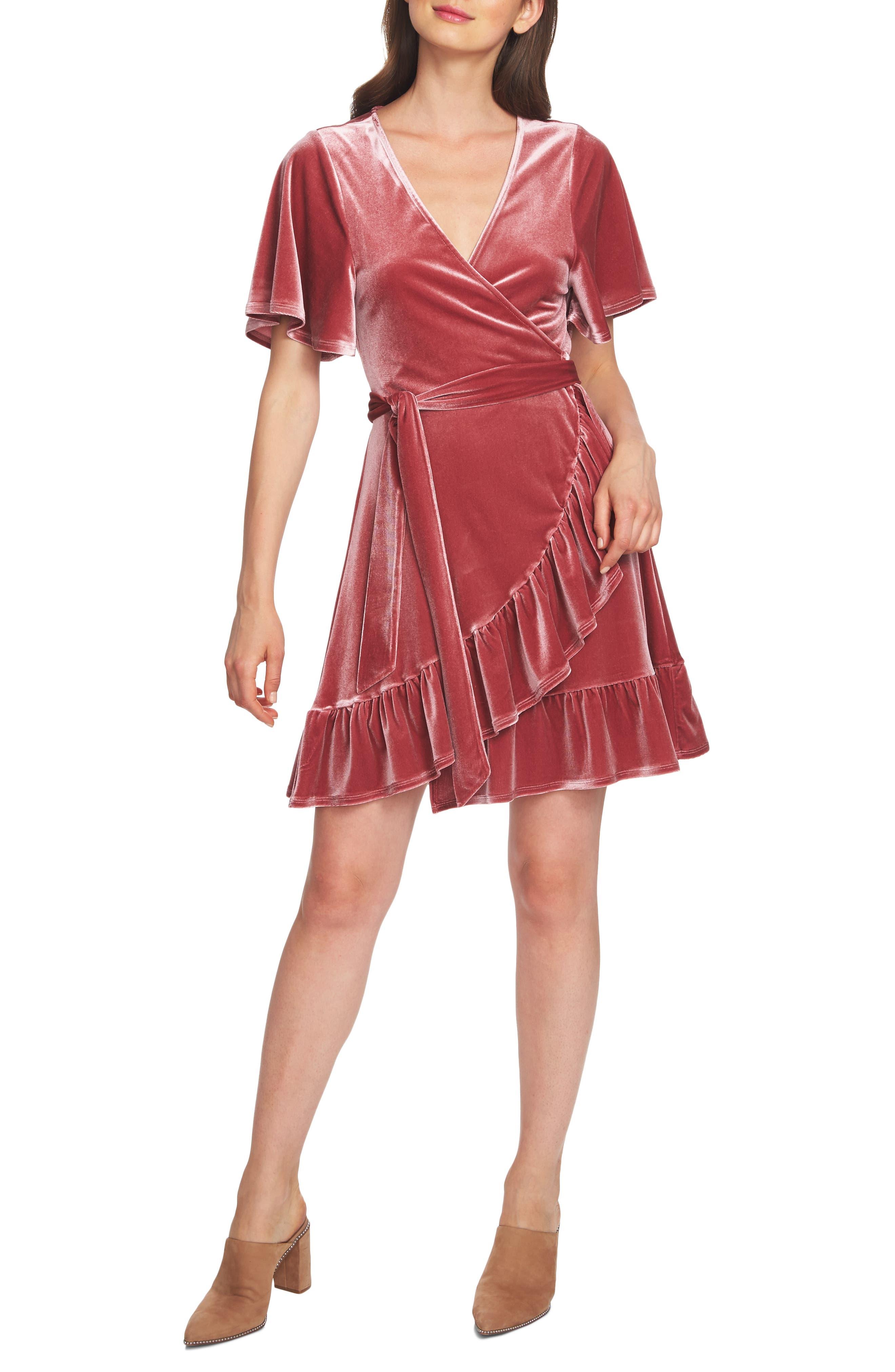 1.state Flutter Sleeve Stretch Velvet Wrap Dress