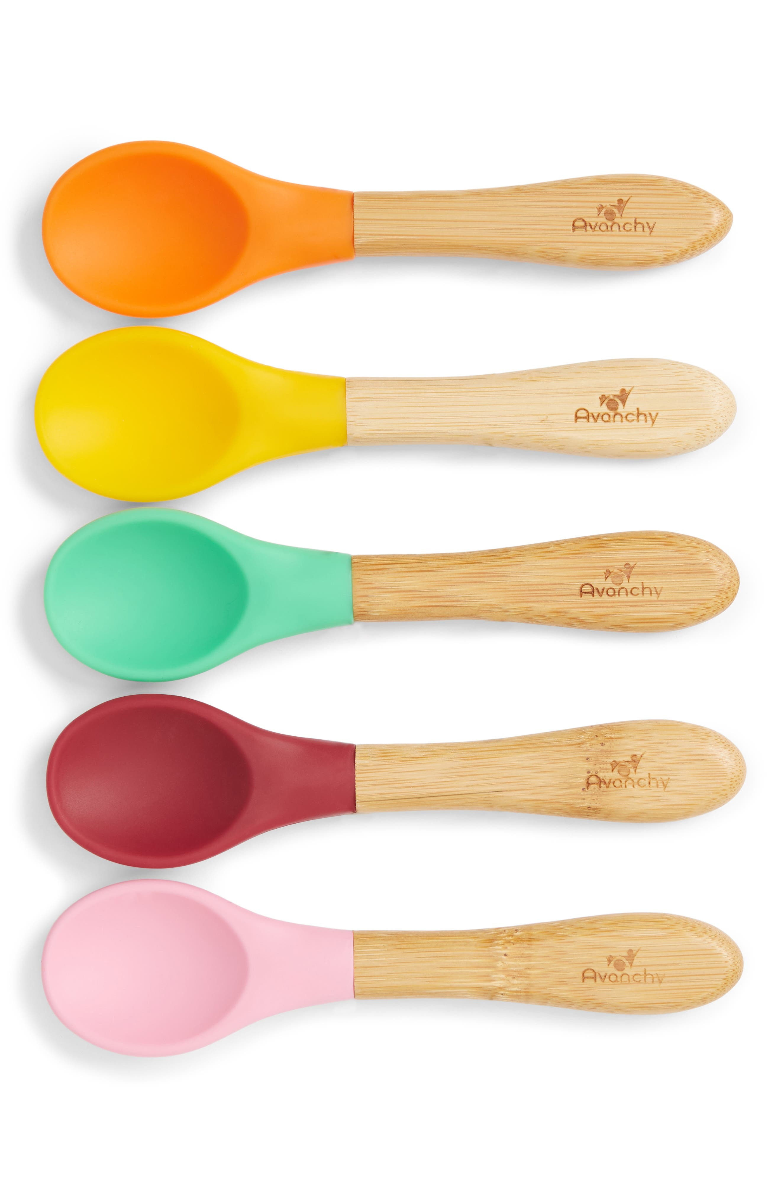 Infant Avanchy 5Pack Silicone  Bamboo Wood Baby Spoons