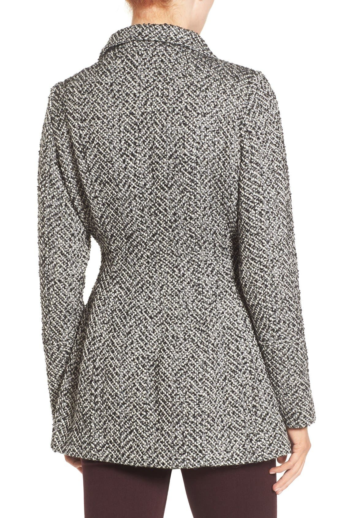 JESSICA SIMPSON,                             Belted Tweed Coat,                             Alternate thumbnail 2, color,                             003