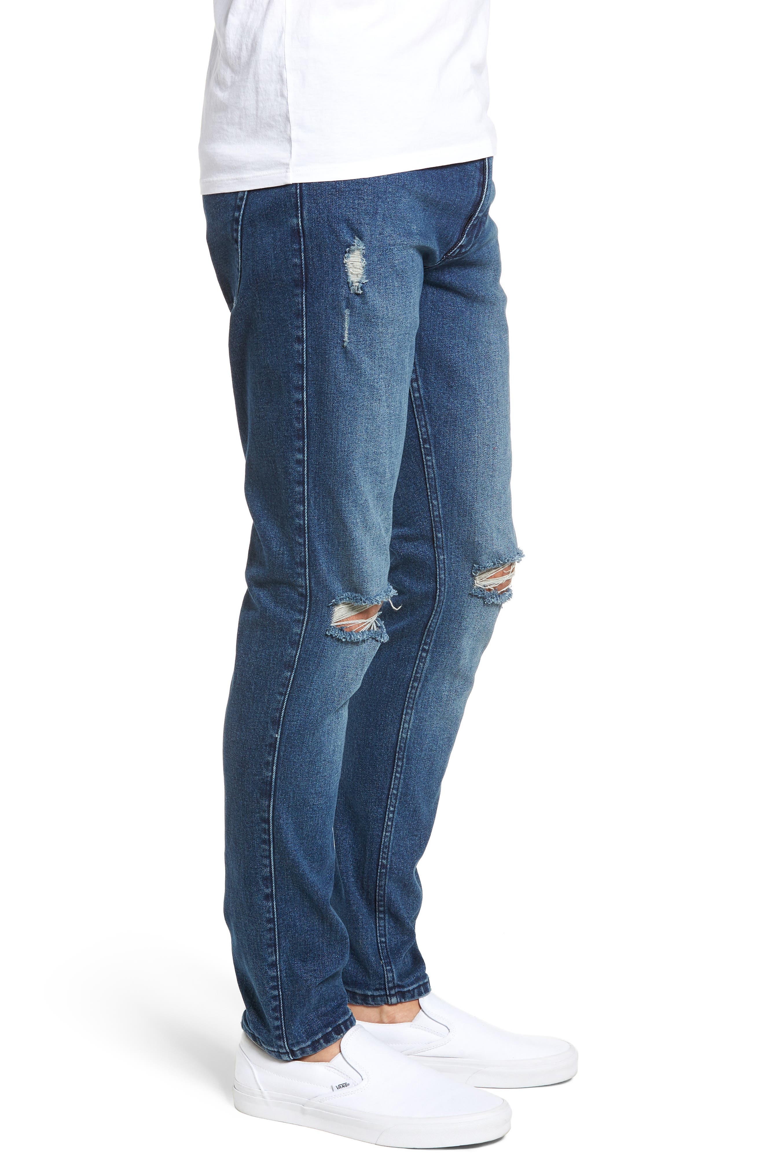 Clark Slim Straight Leg Jeans,                             Alternate thumbnail 3, color,                             WORN ASH BLUE DAMAGED