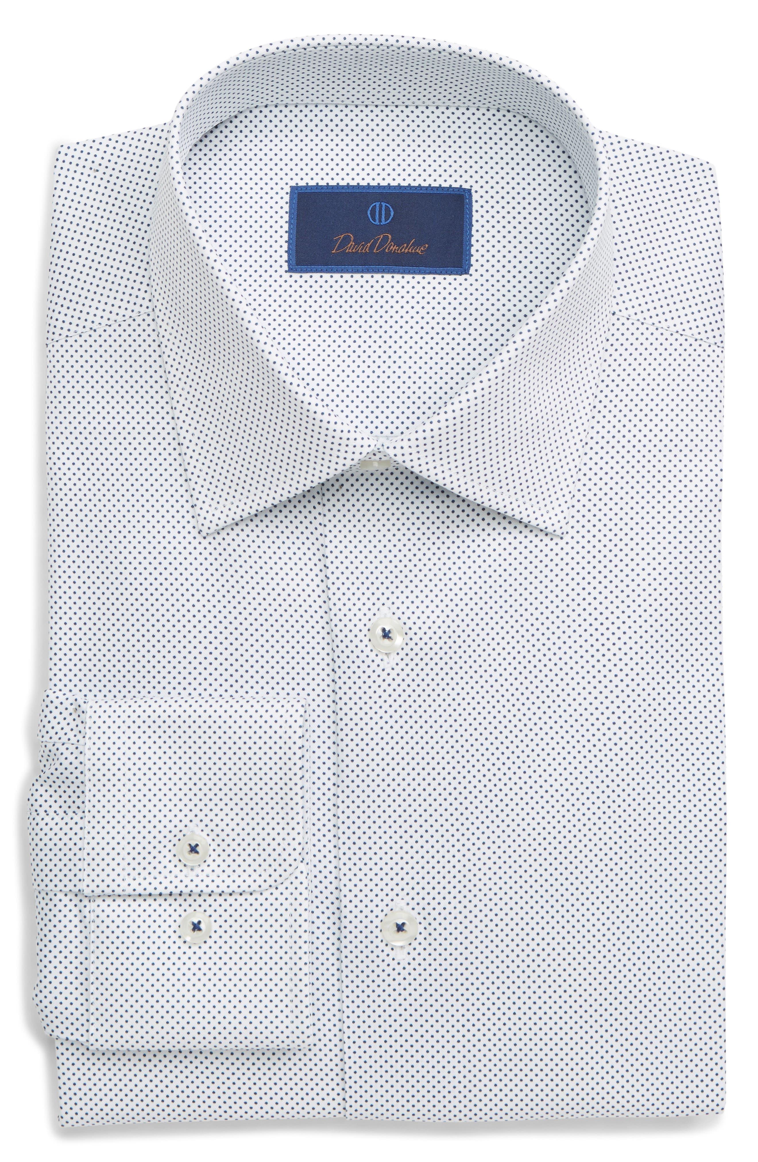 DAVID DONAHUE,                             Regular Fit Dot Dress Shirt,                             Main thumbnail 1, color,                             WHITE/ NAVY