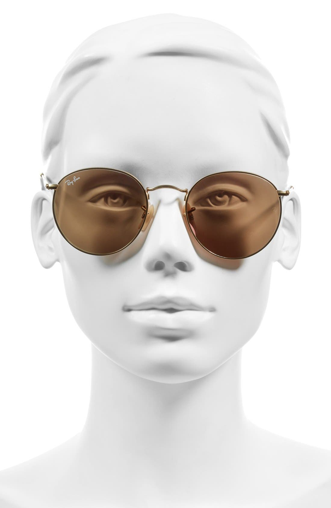 RAY-BAN,                             Icons 53mm Retro Sunglasses,                             Alternate thumbnail 2, color,                             BROWN/ PINK
