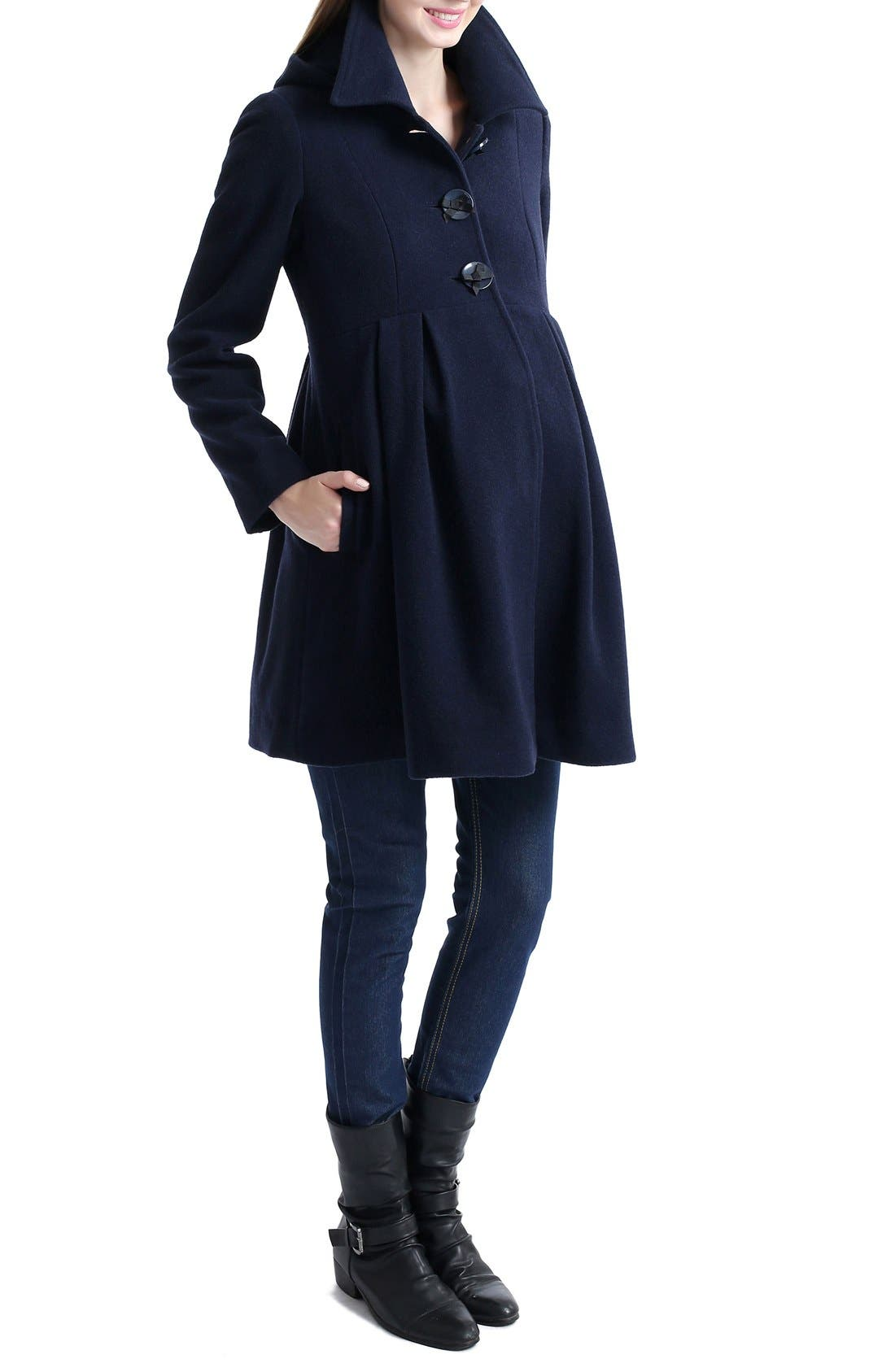 Faye Hooded Maternity Peacoat,                             Main thumbnail 1, color,                             NAVY