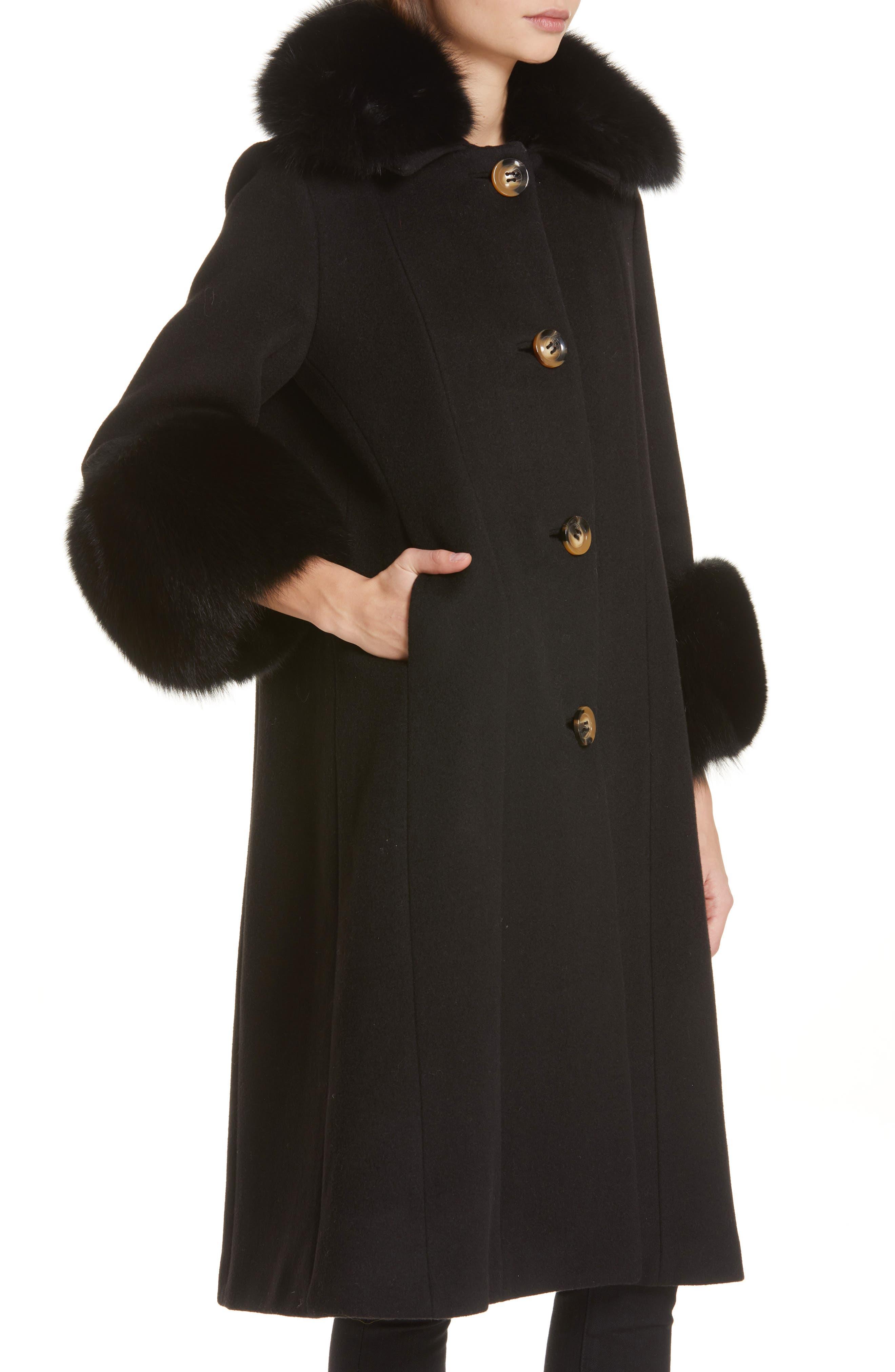 SAKS POTTS,                             Yvonne Wool Coat with Genuine Fox Fur Trim,                             Alternate thumbnail 4, color,                             001