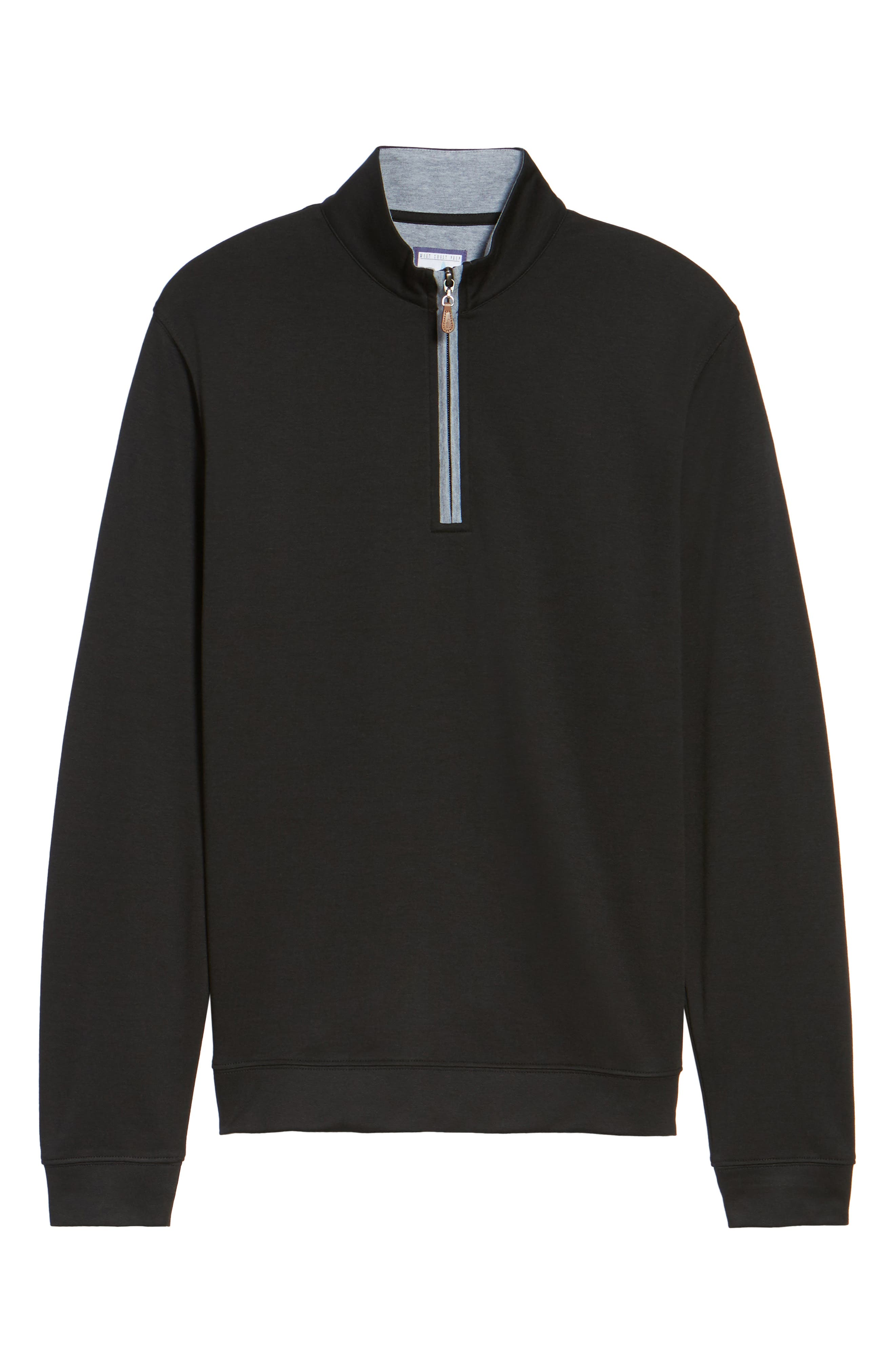 Sully Quarter Zip Pullover,                             Alternate thumbnail 6, color,                             BLACK