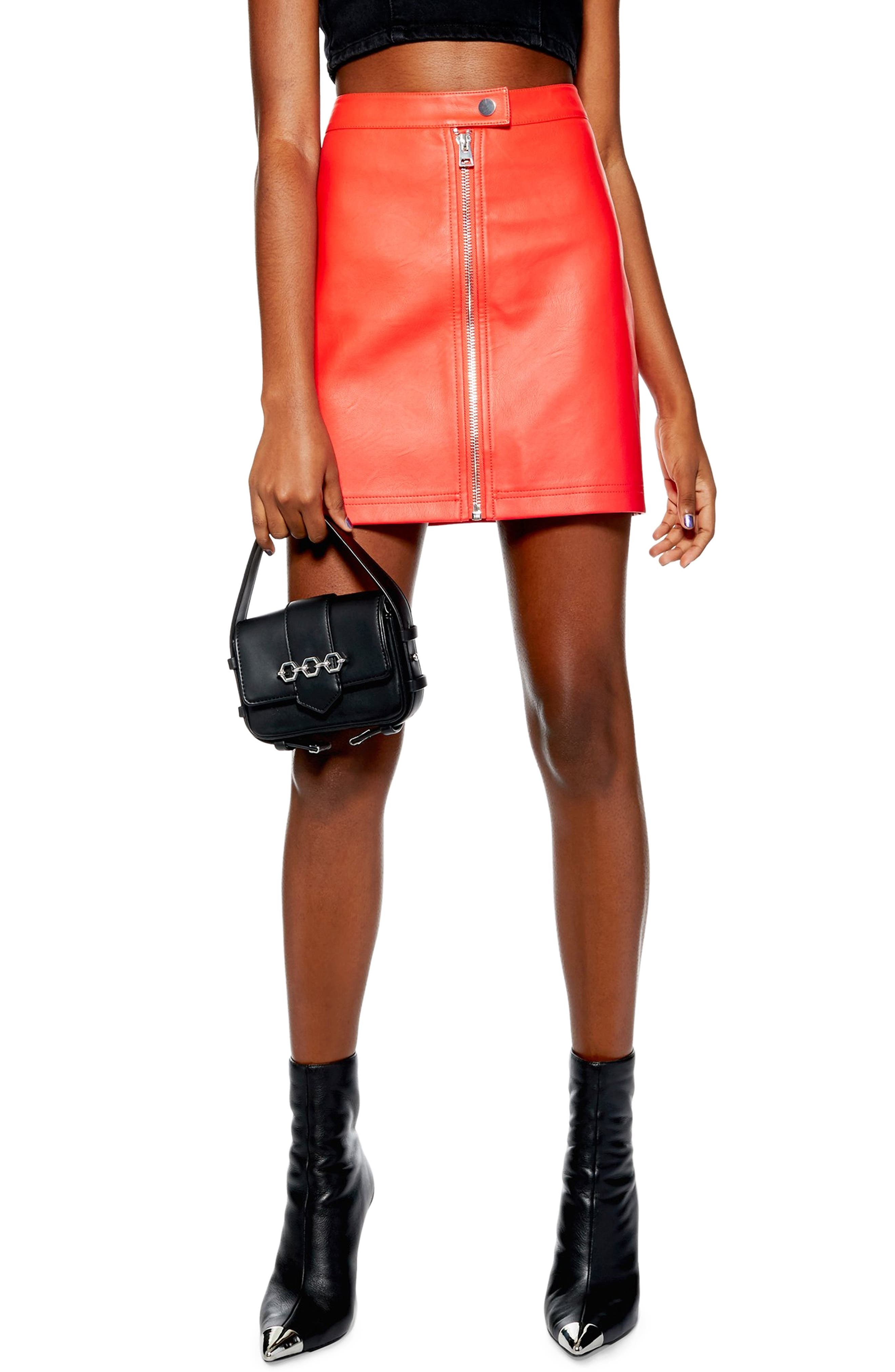 Penelope Faux Leather Miniskirt,                         Main,                         color, RED
