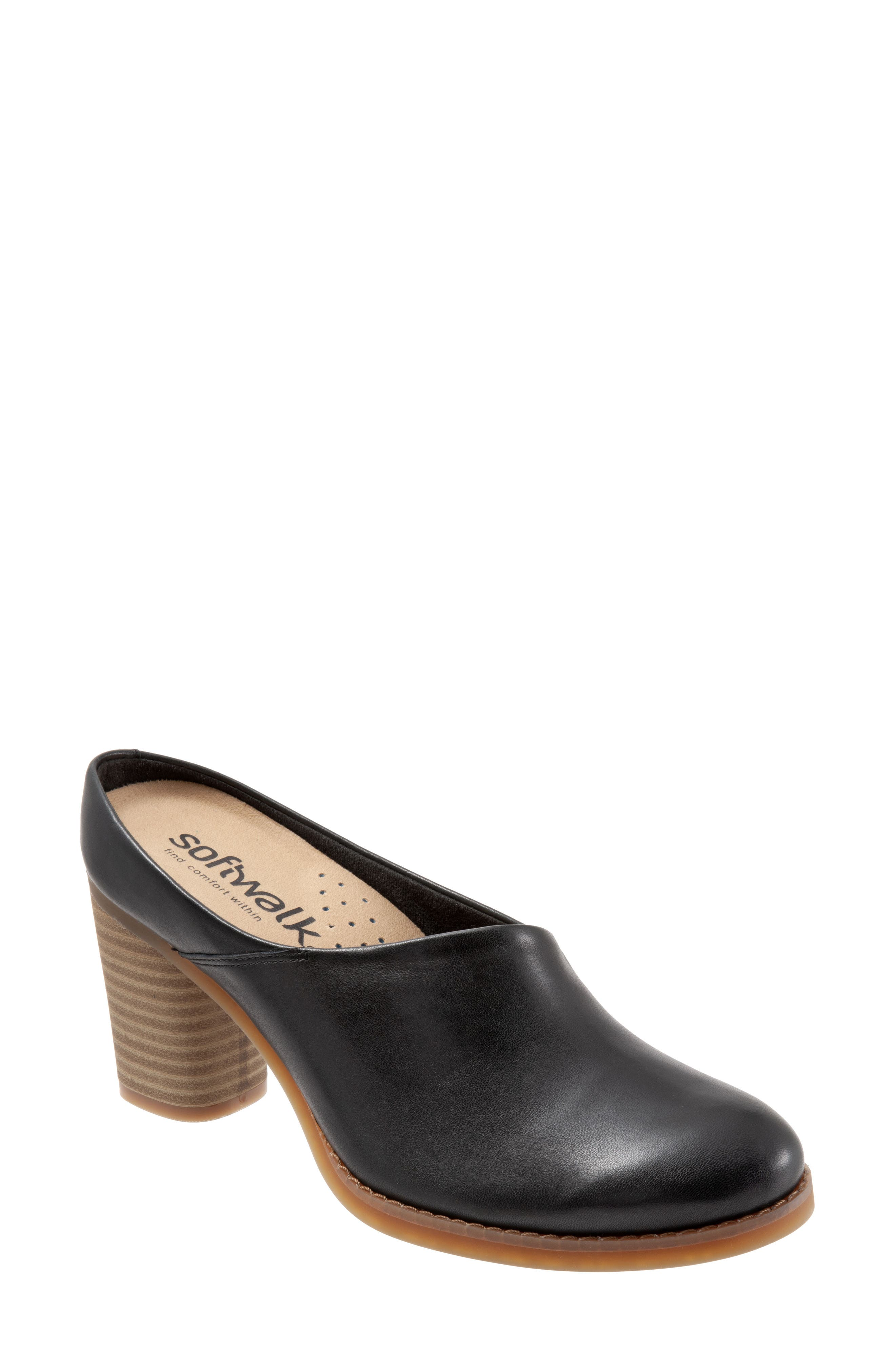Keya Mule,                             Main thumbnail 1, color,                             BLACK LEATHER