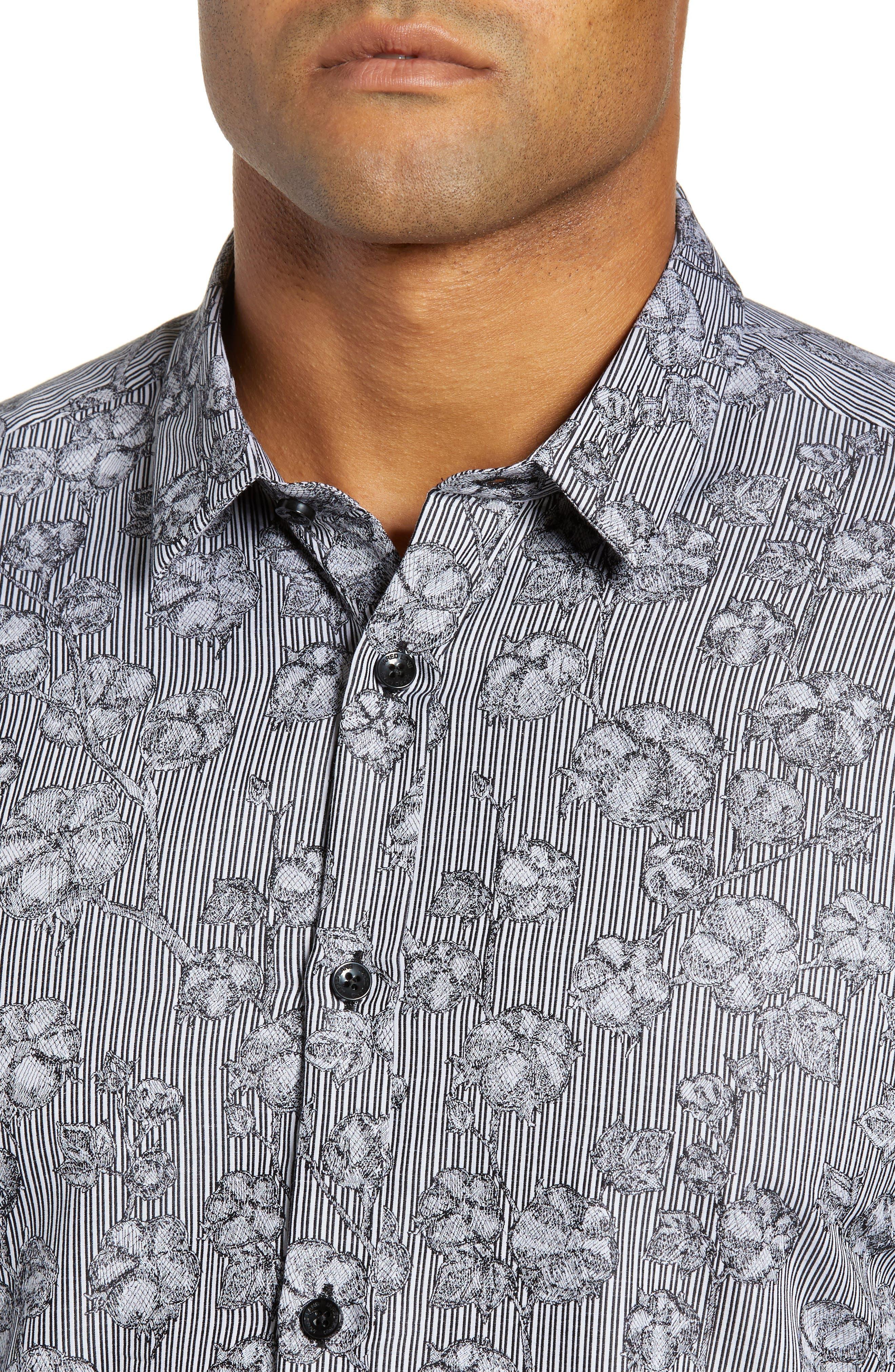 Trim Fit Sport Shirt,                             Alternate thumbnail 2, color,                             GREY FLORAL