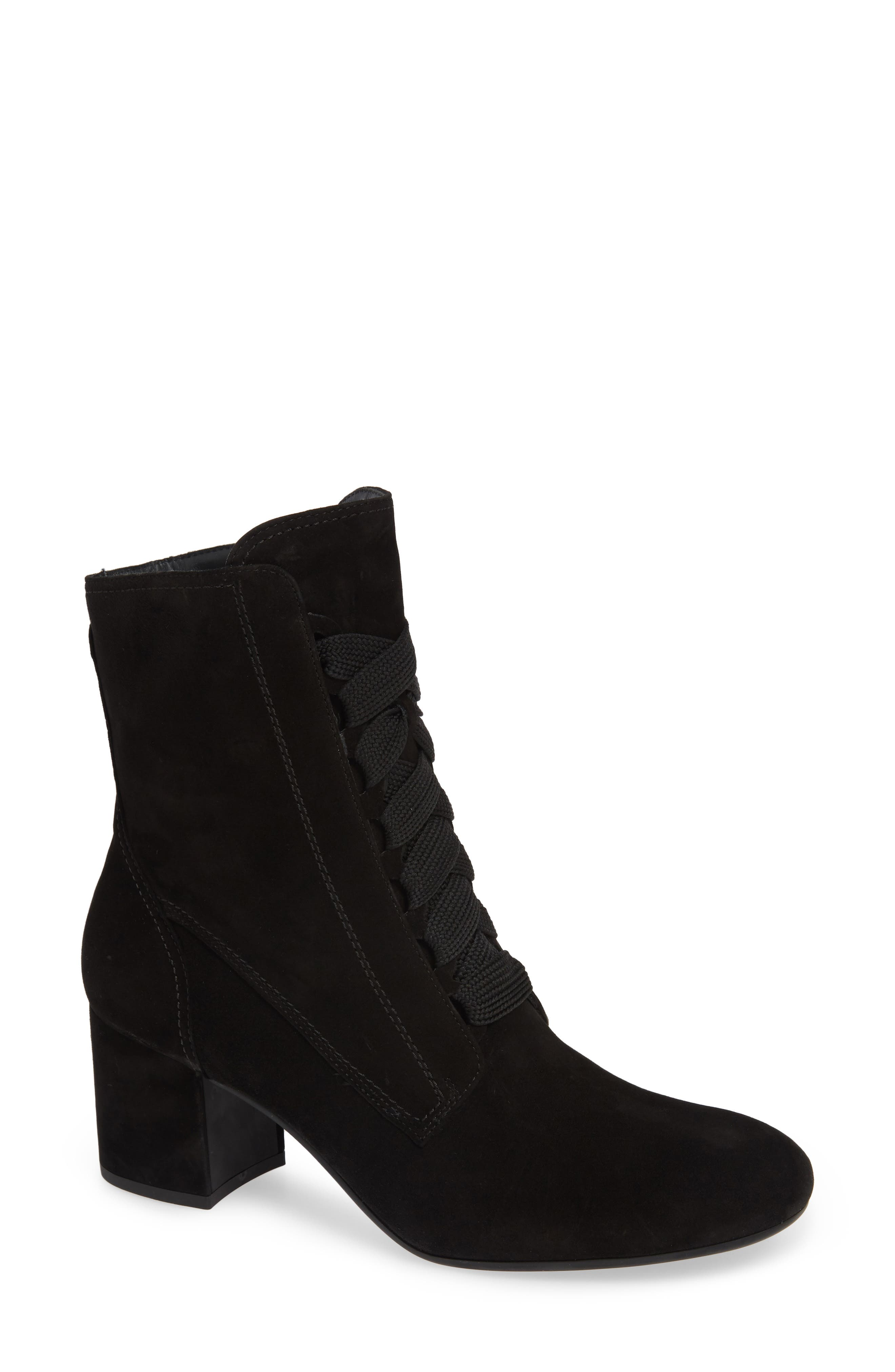 Tracy Lace-Up Bootie,                             Main thumbnail 1, color,                             BLACK SUEDE