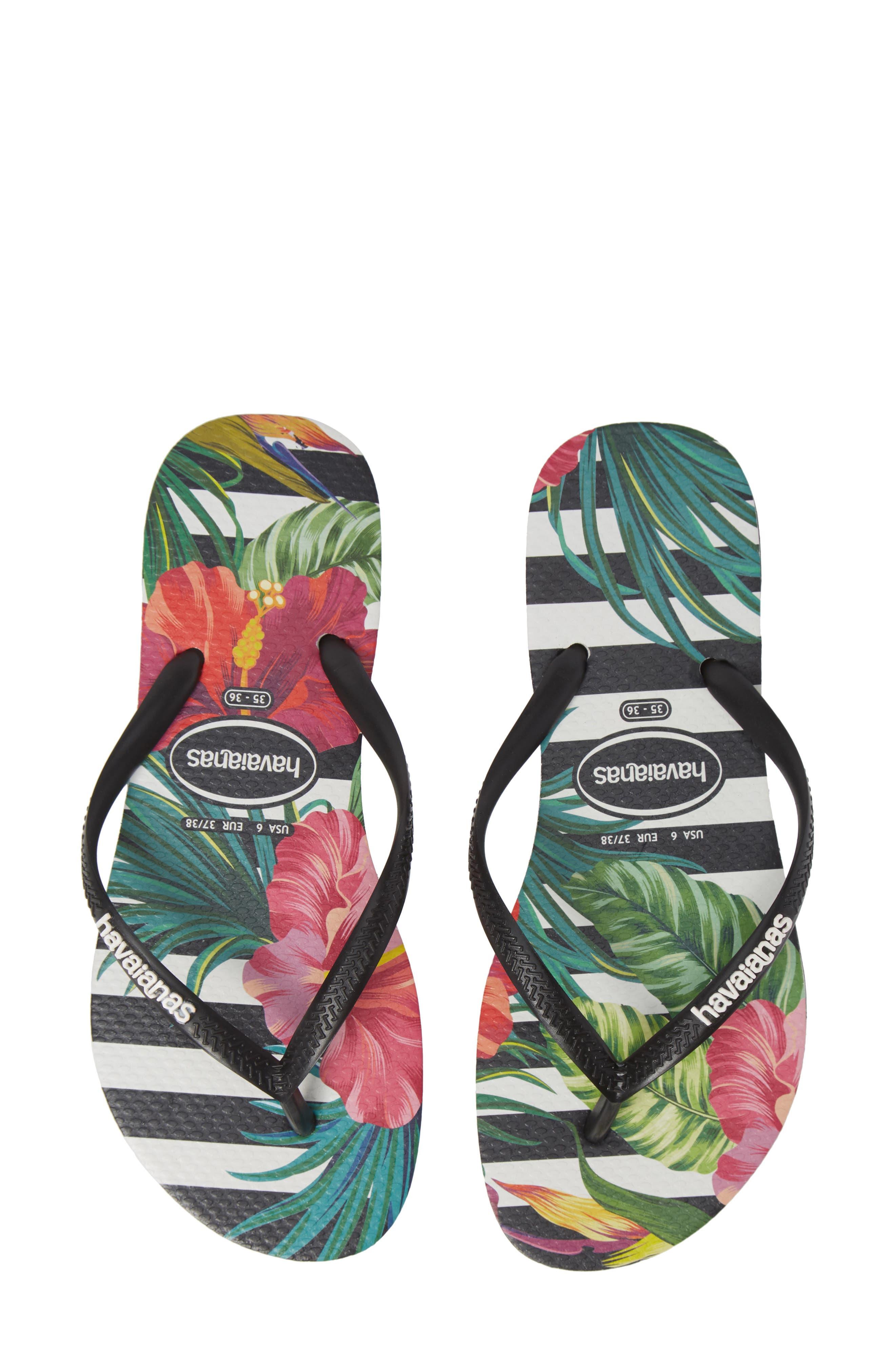 Slim Tropical Floral Flip Flop,                             Main thumbnail 1, color,                             BLACK/ WHITE