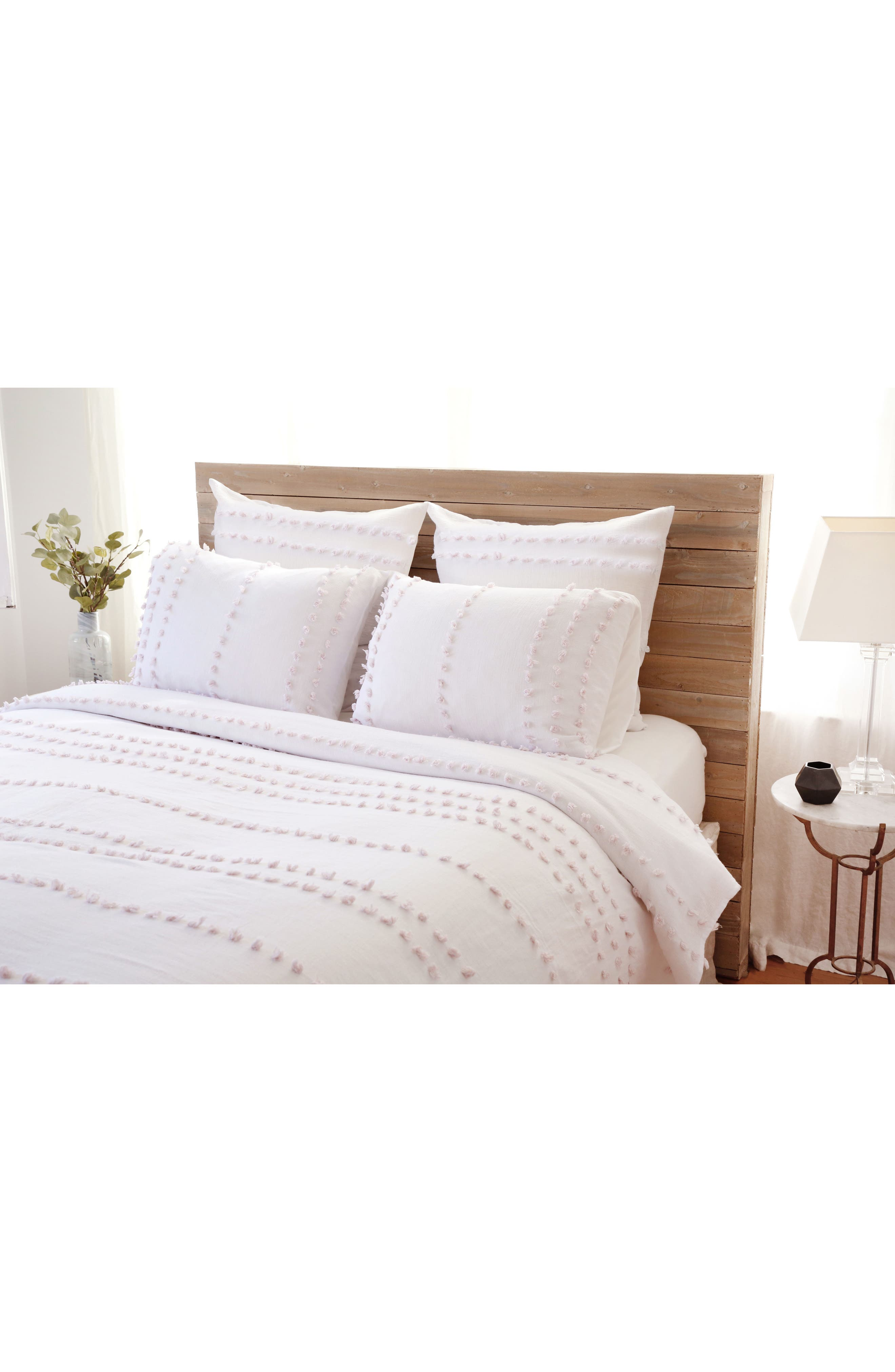 Poppy Blanket & Sham Set,                         Main,                         color, WHITE/ BLUSH