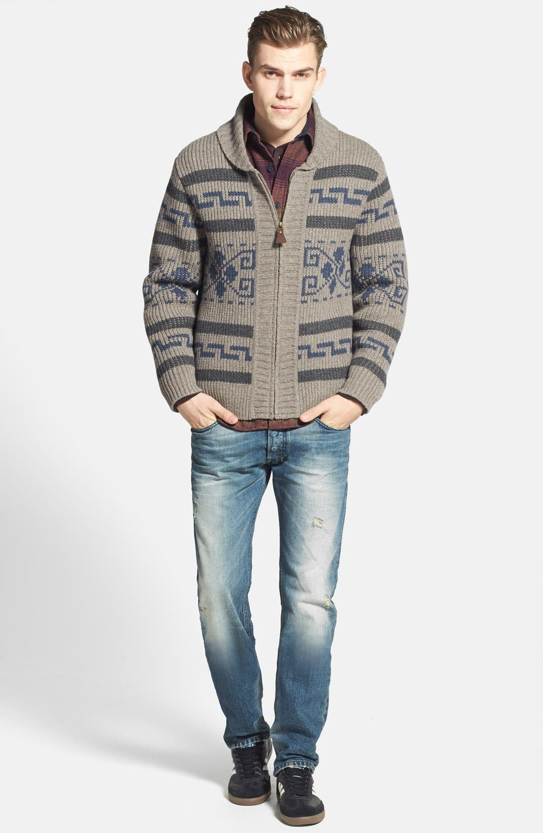'Westerly' Lambswool Zip Sweater,                             Alternate thumbnail 3, color,                             020
