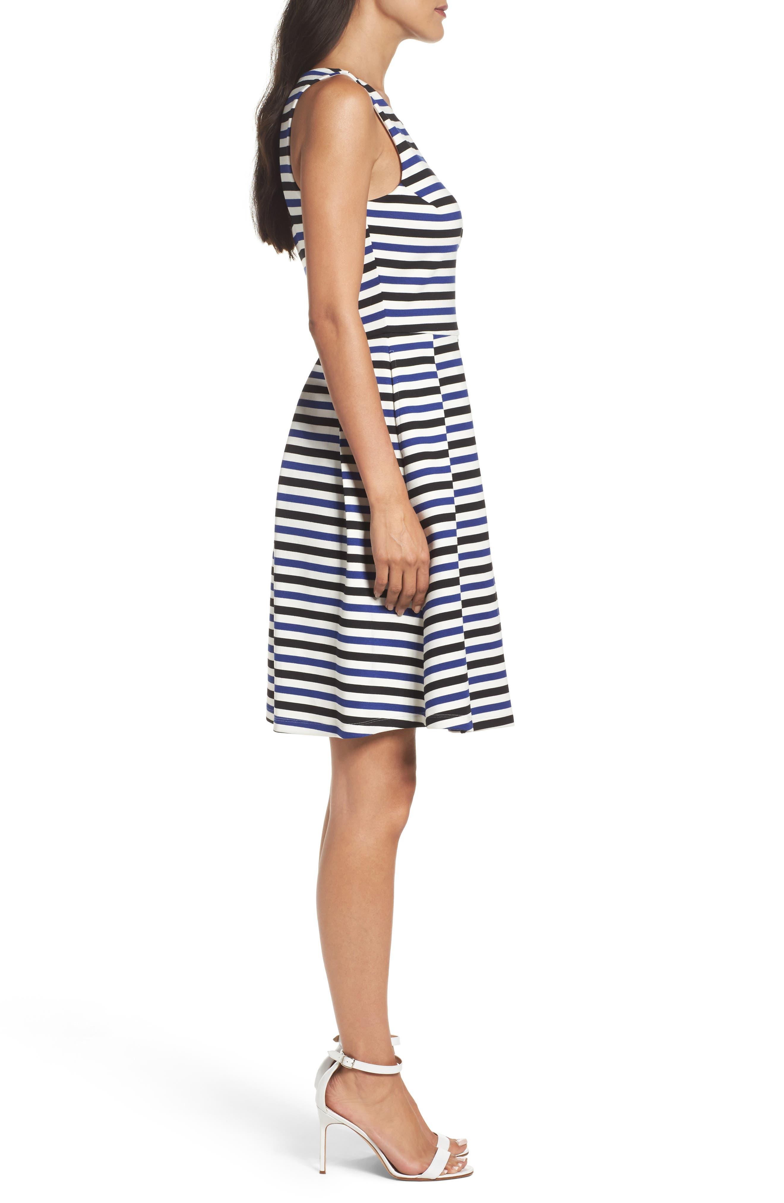 Ming Stripe Fit & Flare Dress,                             Alternate thumbnail 3, color,                             100