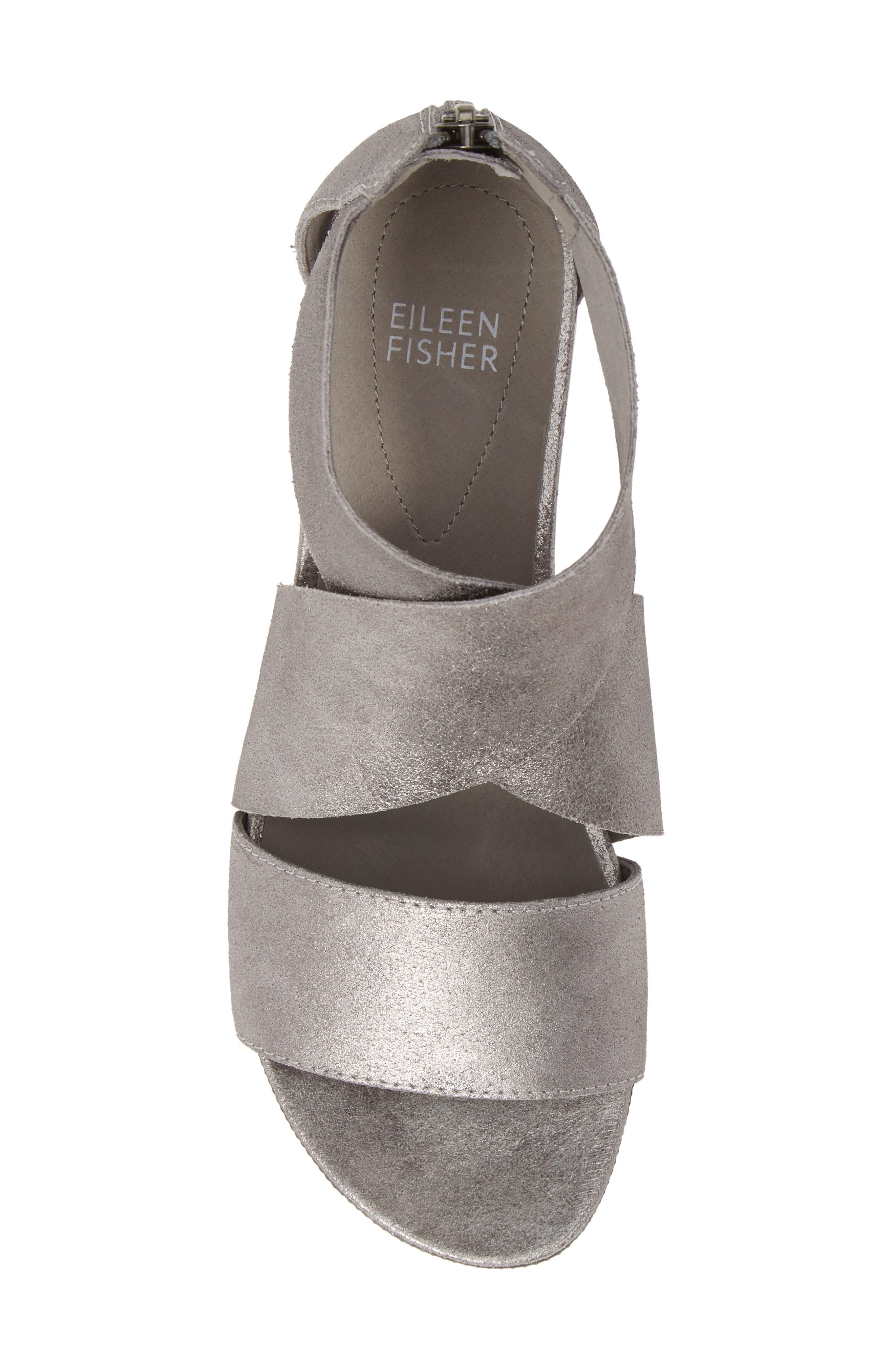 EILEEN FISHER,                             Sport Platform Sandal,                             Alternate thumbnail 5, color,                             SILVER METALLIC
