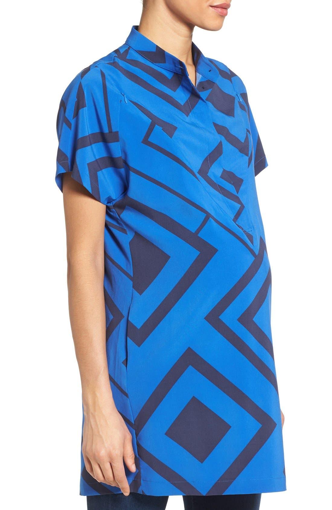 'Erin' Print Maternity/Nursing Shirtdress,                             Alternate thumbnail 2, color,                             BLUE DIAMOND