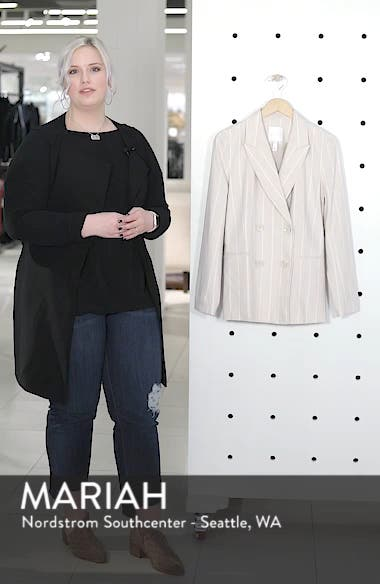 Double Breasted Linen Blend Blazer, sales video thumbnail