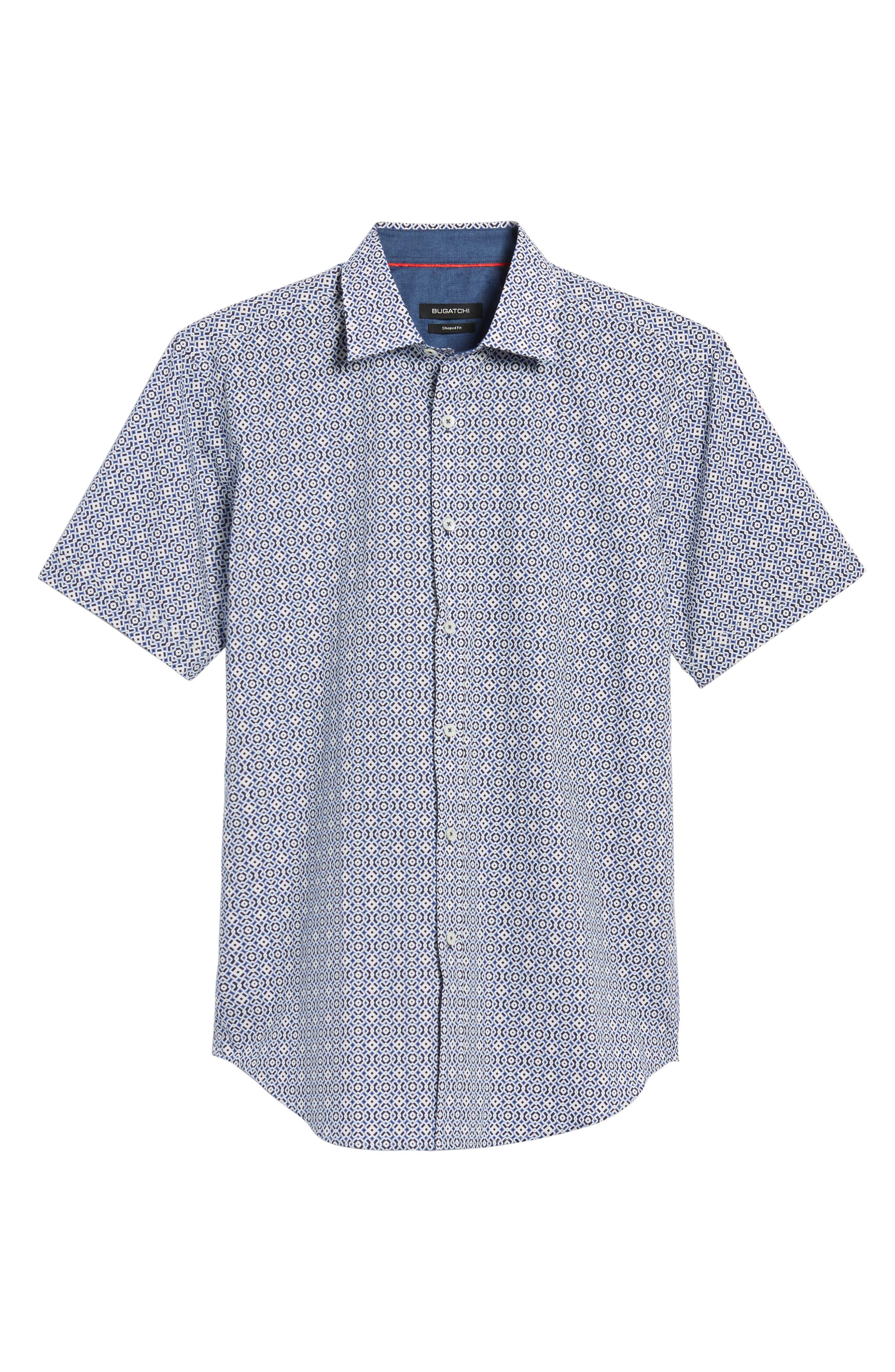 Shaped Fit Print Sport Shirt,                             Alternate thumbnail 6, color,                             NAVY