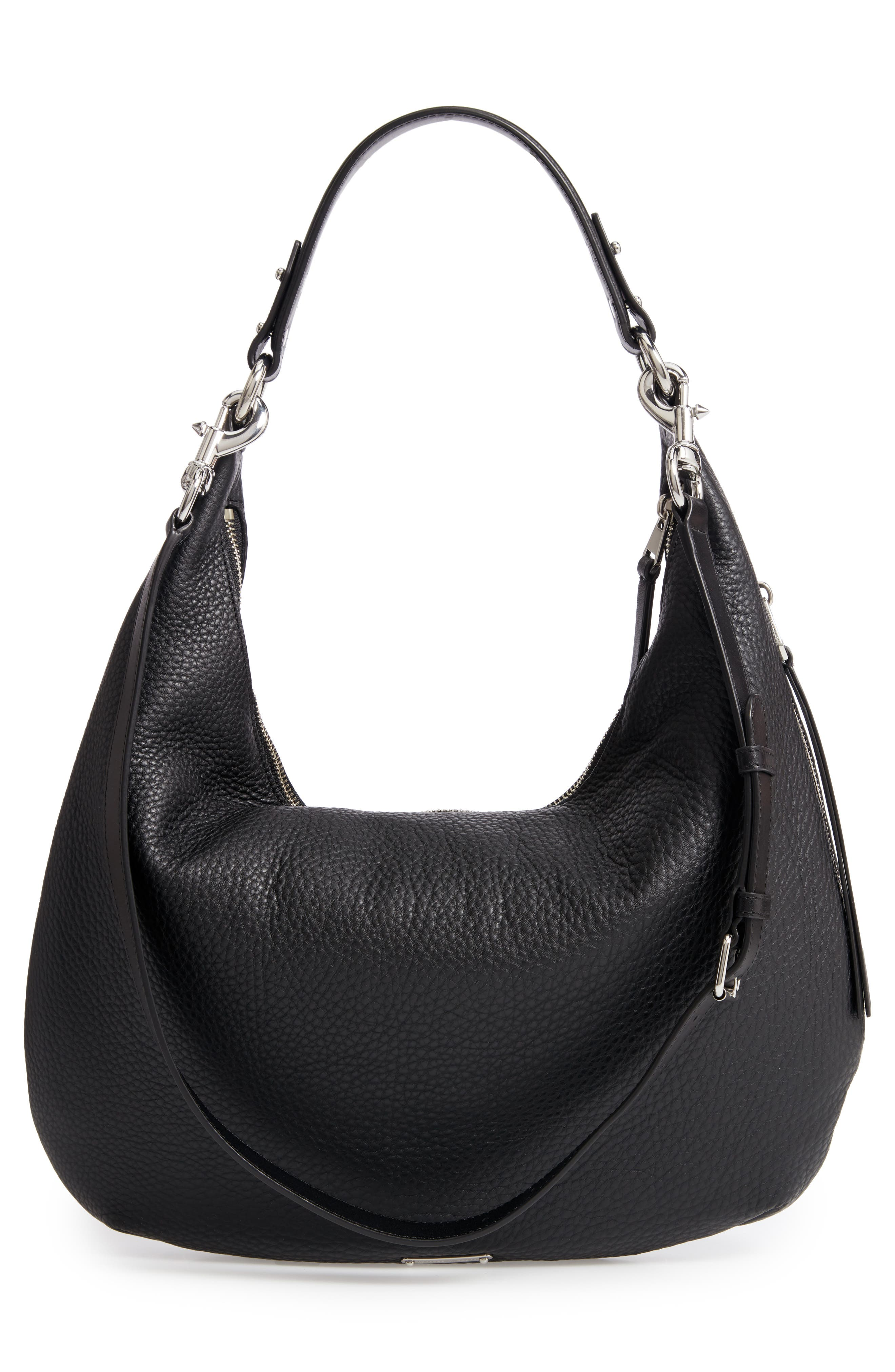 Michelle Leather Hobo,                             Alternate thumbnail 3, color,                             JET BLACK