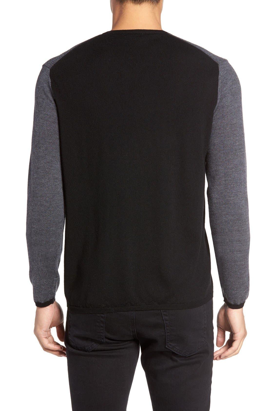 ZACHARY PRELL V-Neck Colorblock Merino Wool Pullover, Main, color, 025