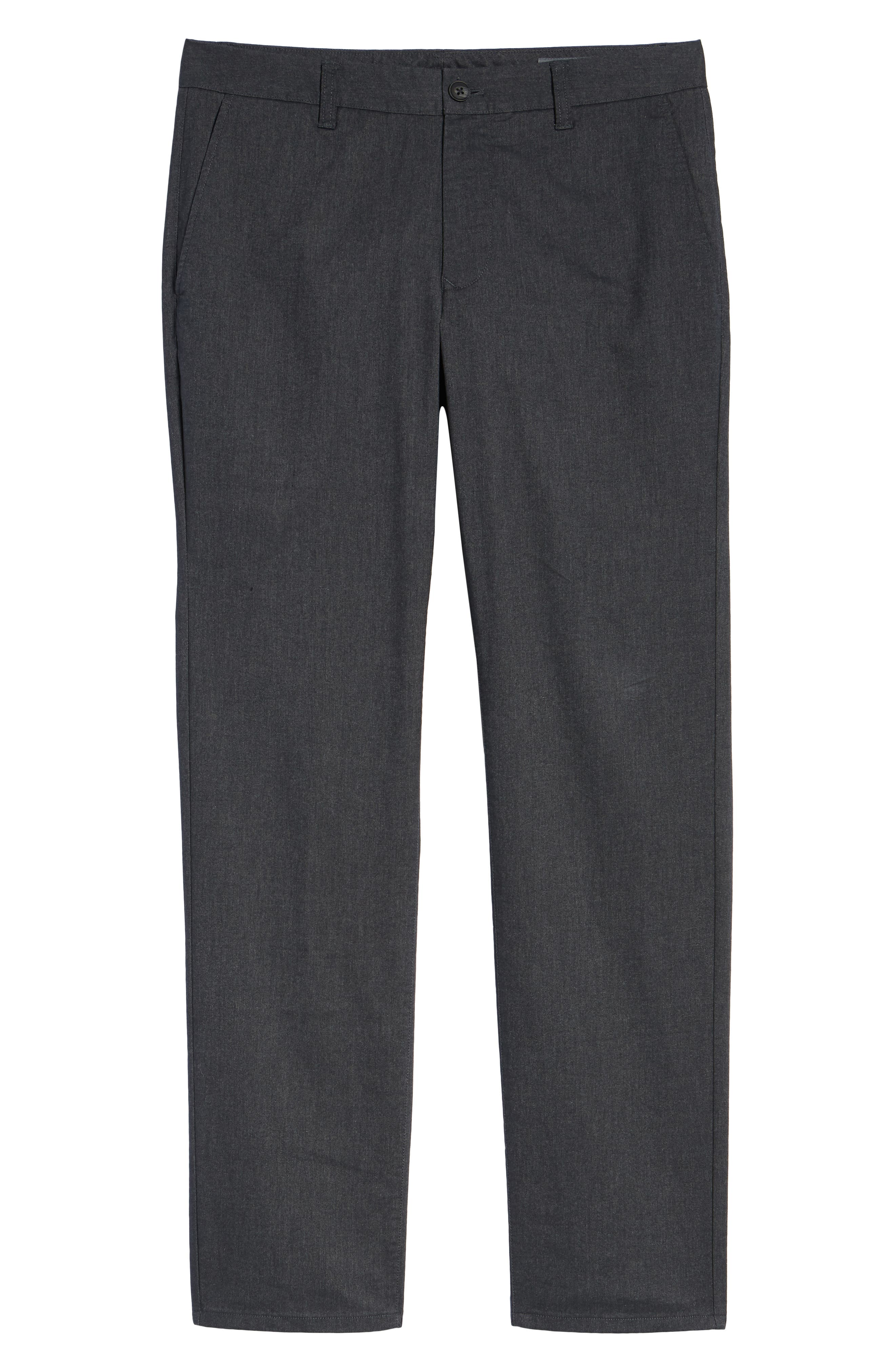 Slim Fit Stretch Yarn-Dye Washed Chinos,                             Alternate thumbnail 6, color,                             CHARCOAL HEATHER