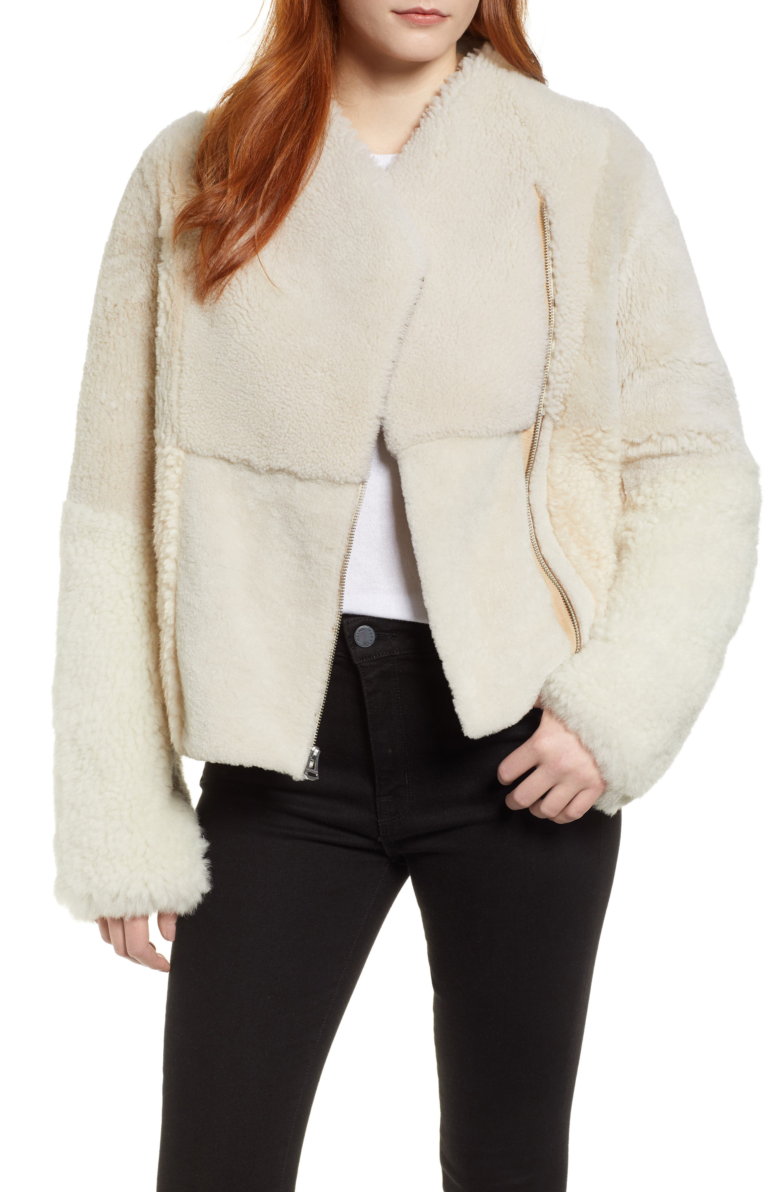 Patchwork Genuine Shearling Jacket, Main, color, CREAM