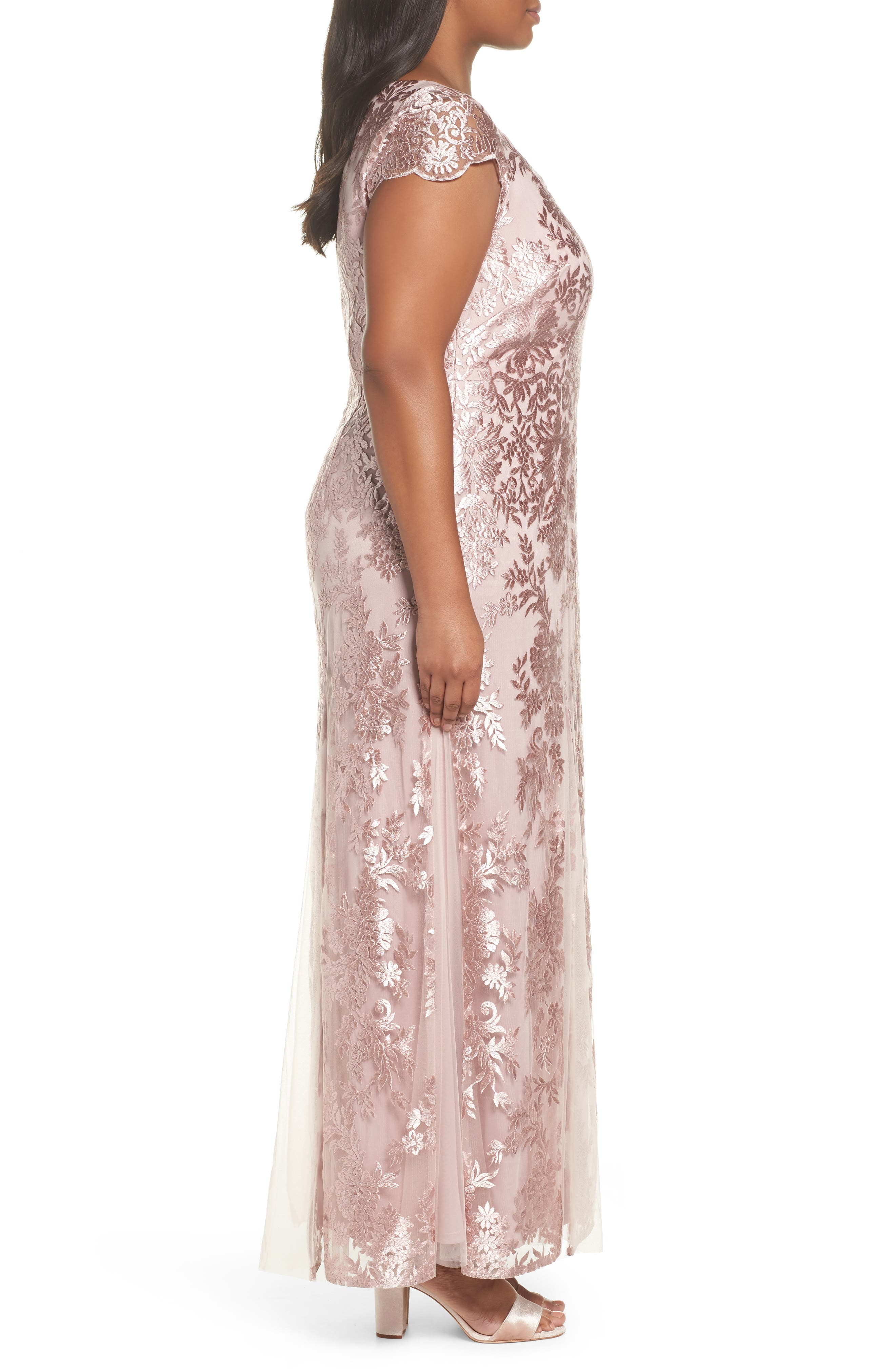 Lace A-Line Gown,                             Alternate thumbnail 3, color,                             DUSTY PINK