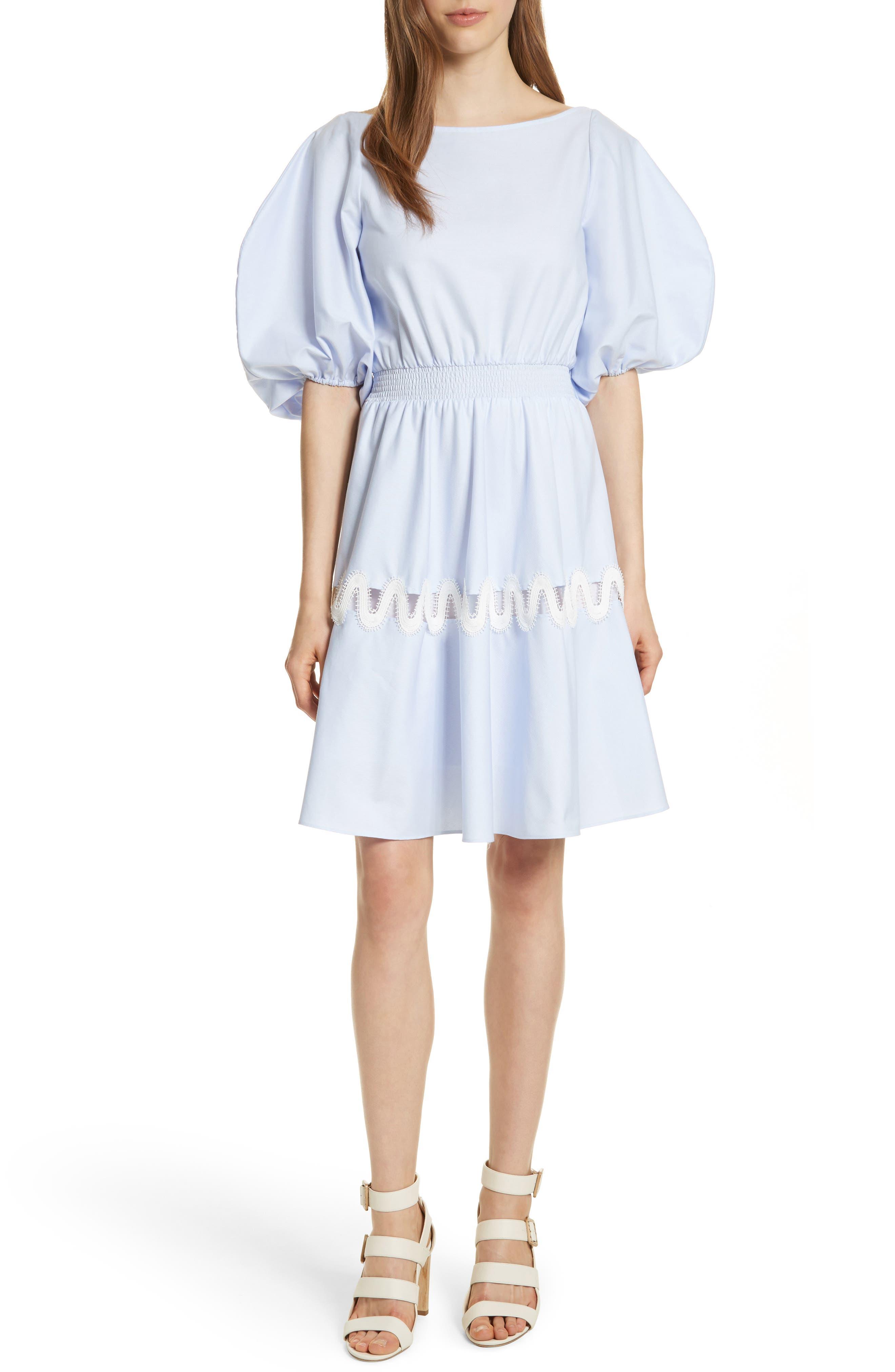 Prose & Poetry Charleene Cotton Balloon Sleeve Dress,                             Main thumbnail 1, color,