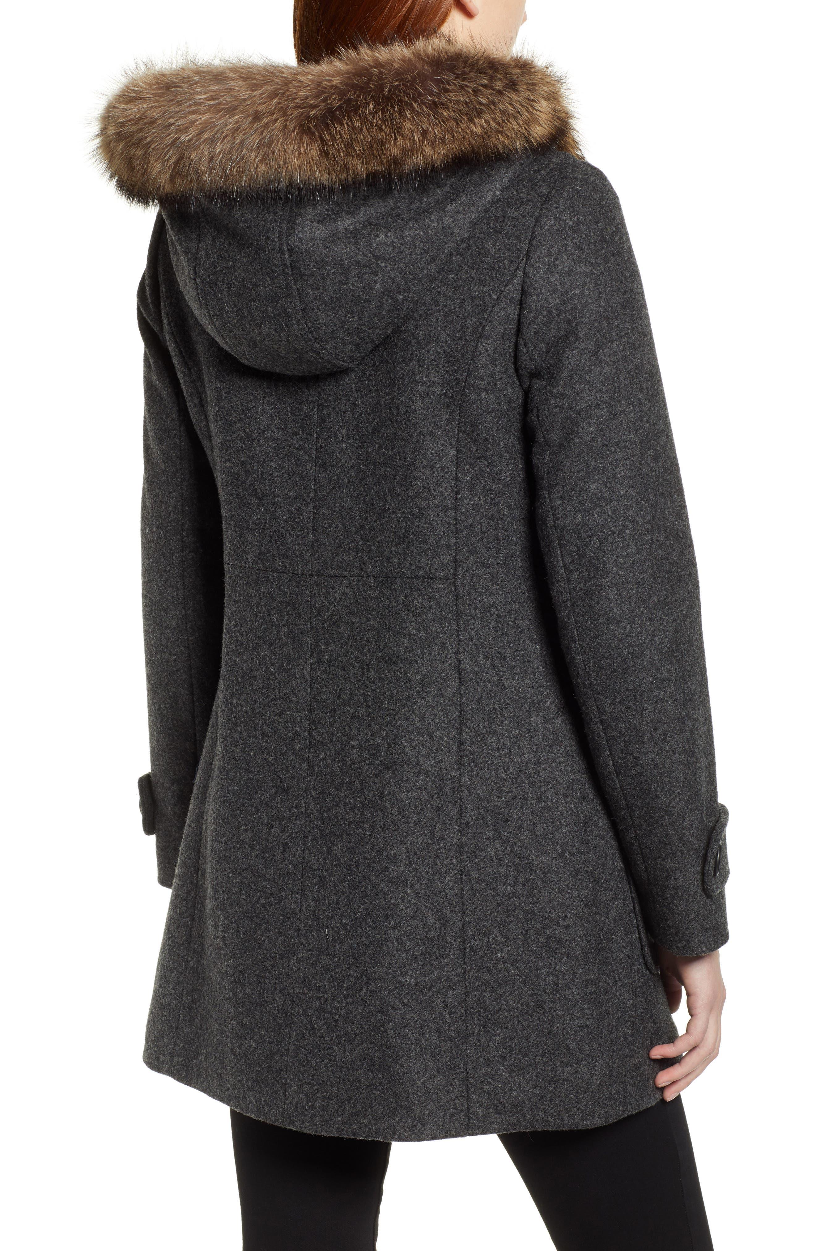 Portland Wool Duffle Coat with Genuine Fur Trim,                             Alternate thumbnail 2, color,                             ASH MEL