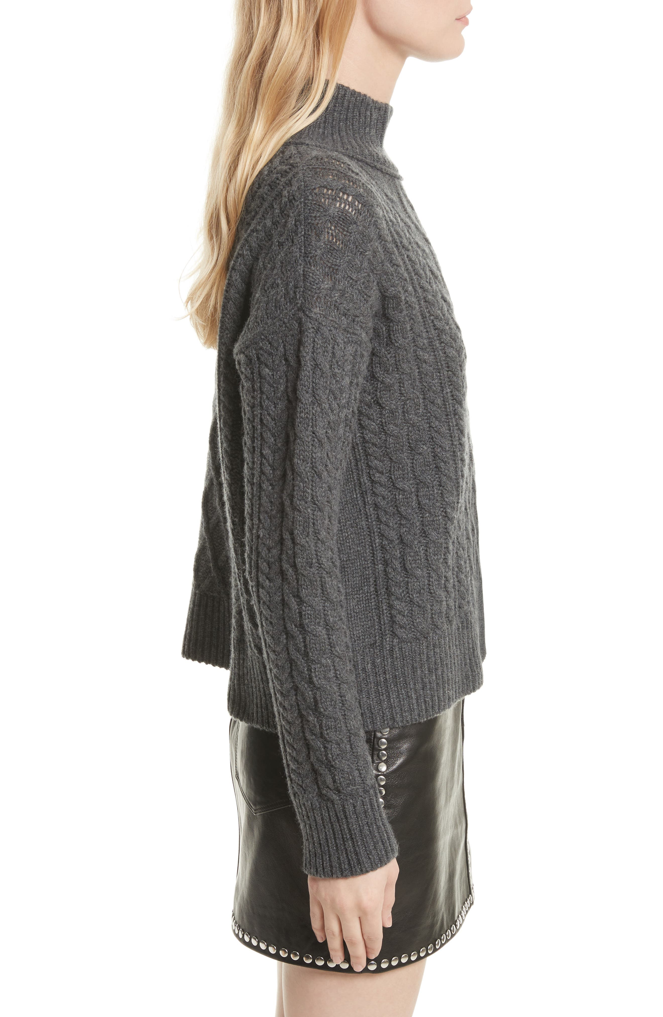 Wool & Cashmere Cable Knit Crop Sweater,                             Alternate thumbnail 3, color,