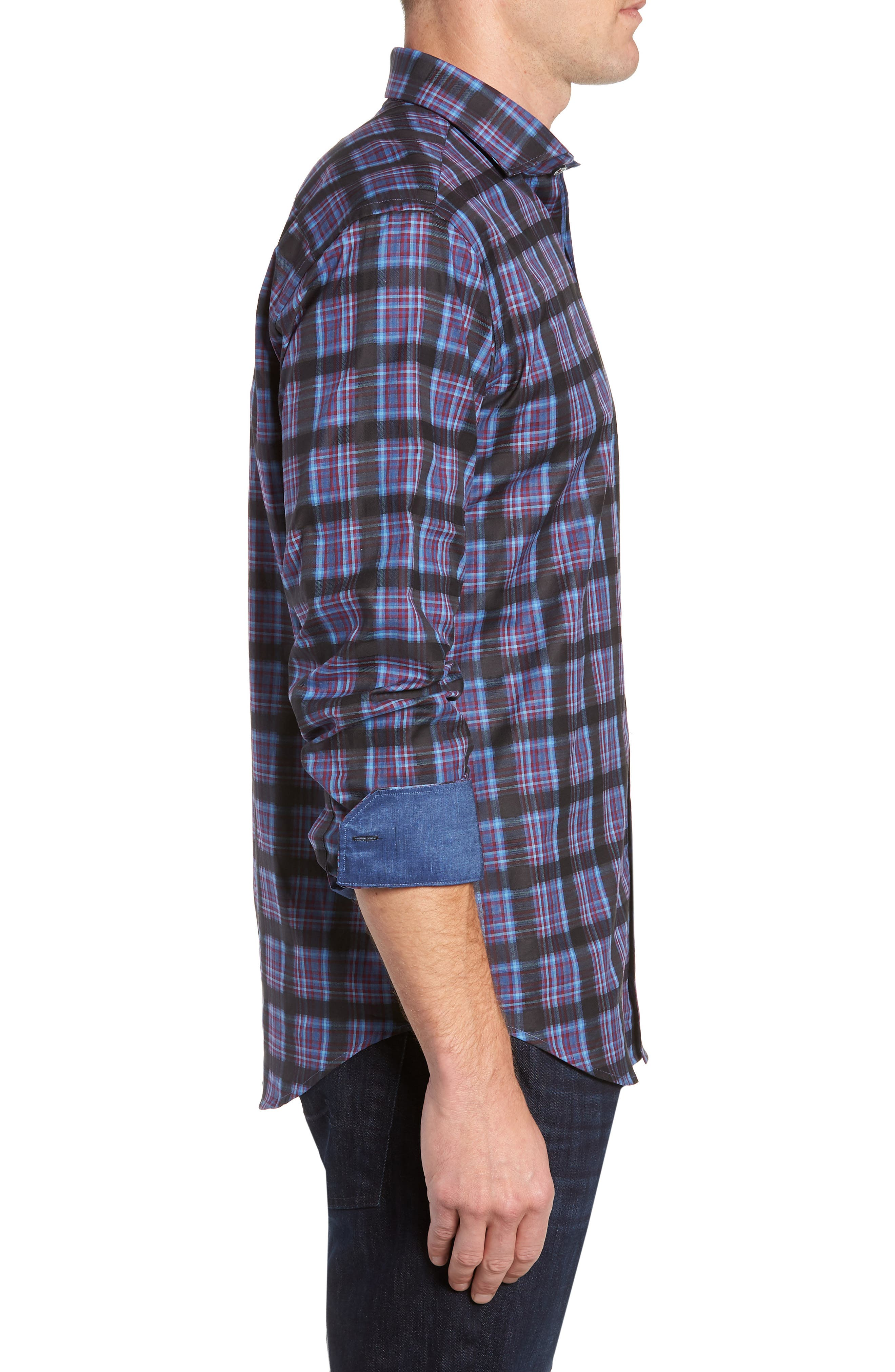 Regular Fit Plaid Sport Shirt,                             Alternate thumbnail 4, color,                             400