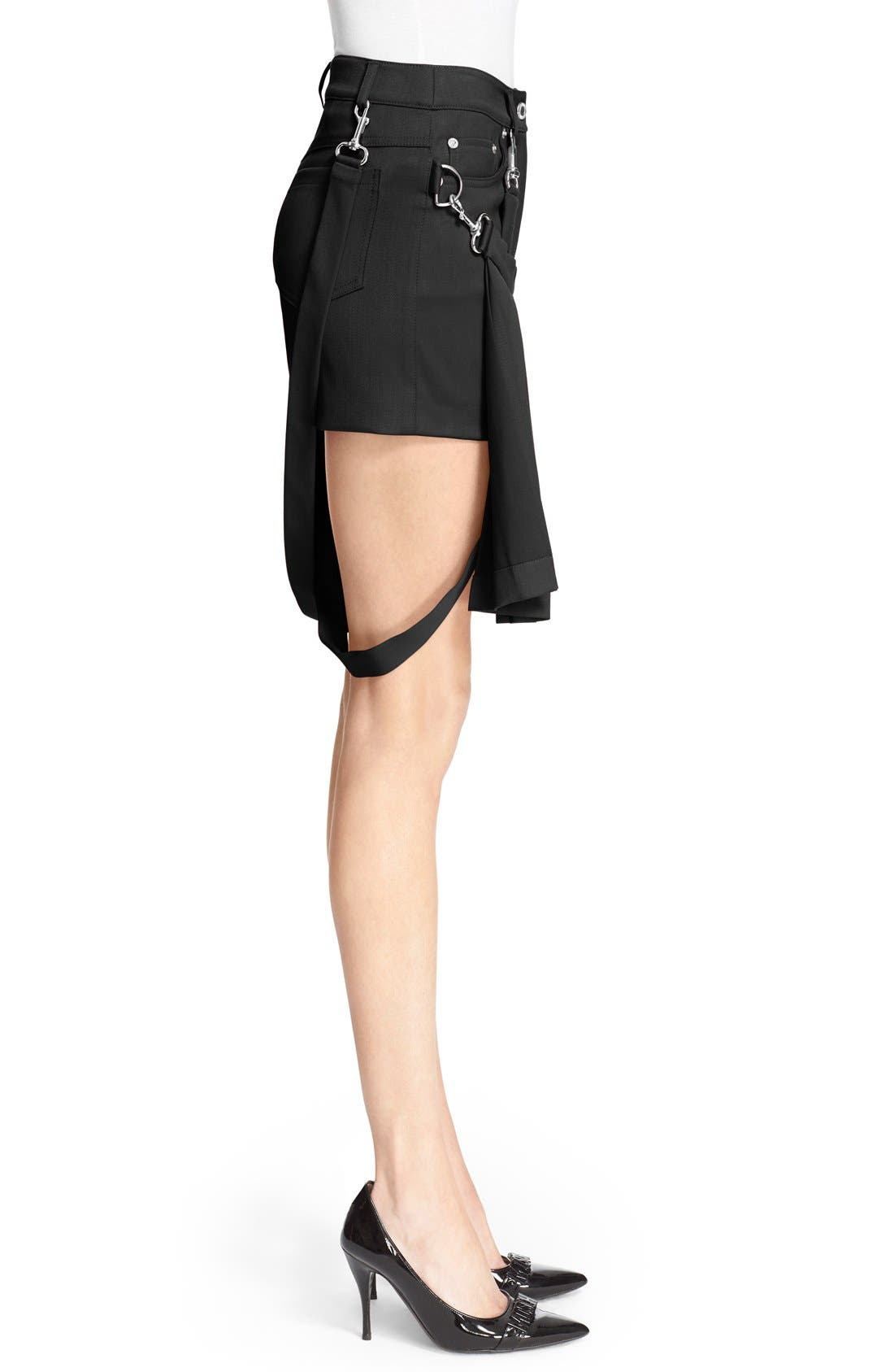 Pleated Overlay Shorts with Suspenders,                             Alternate thumbnail 5, color,                             001