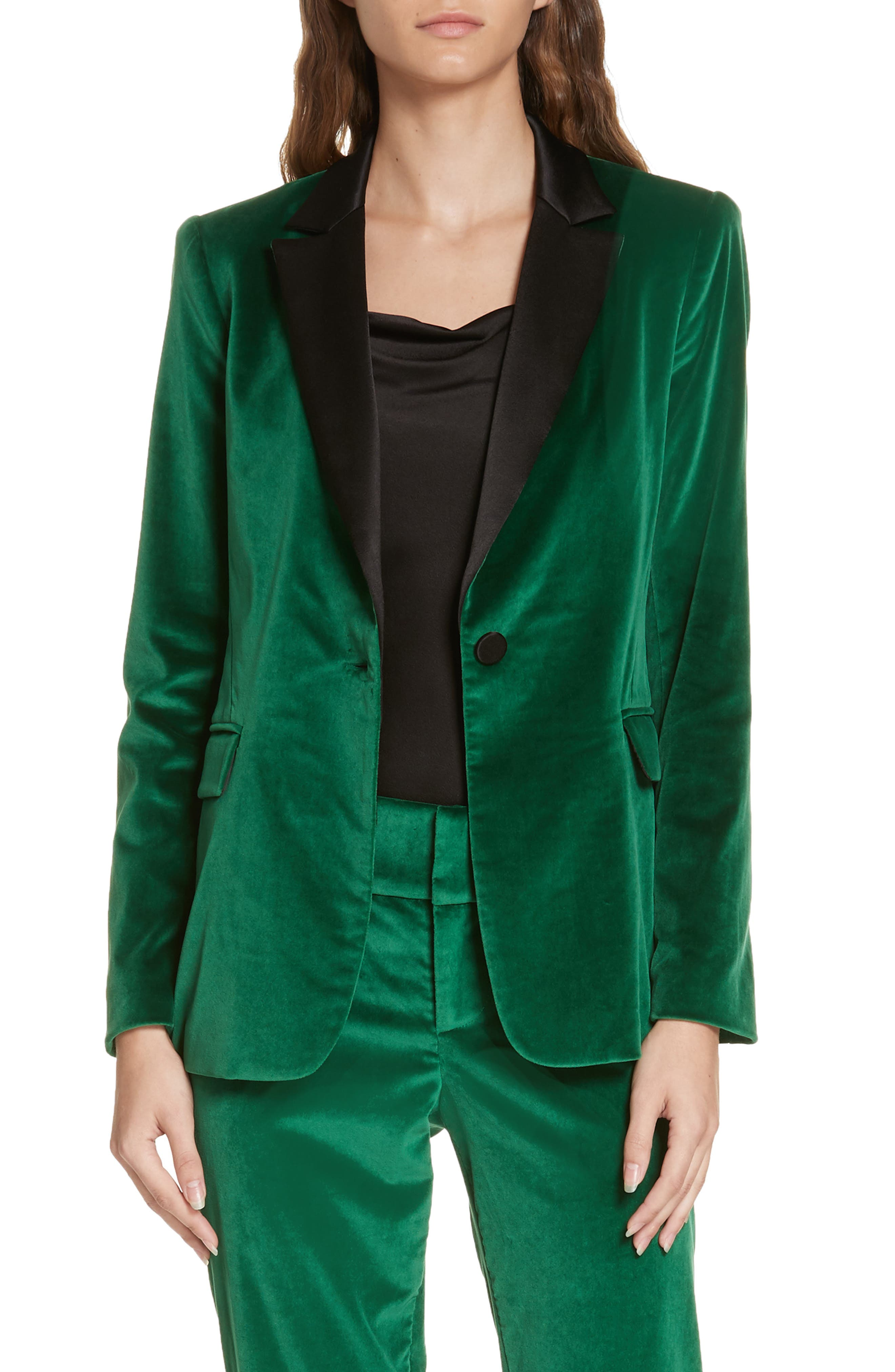 Macey Notch Lapel Fitted Velvet Blazer, Main, color, 370