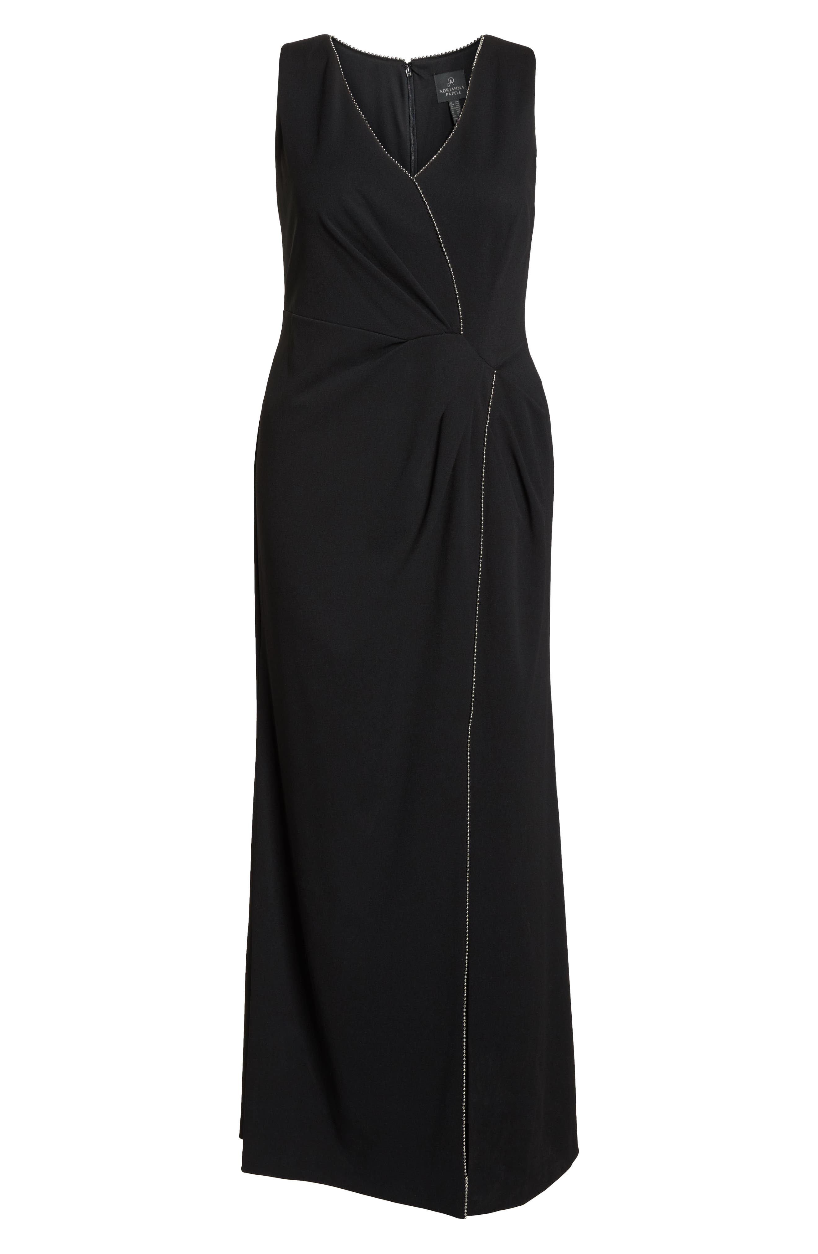 Beaded Trim Gown,                             Alternate thumbnail 7, color,                             BLACK