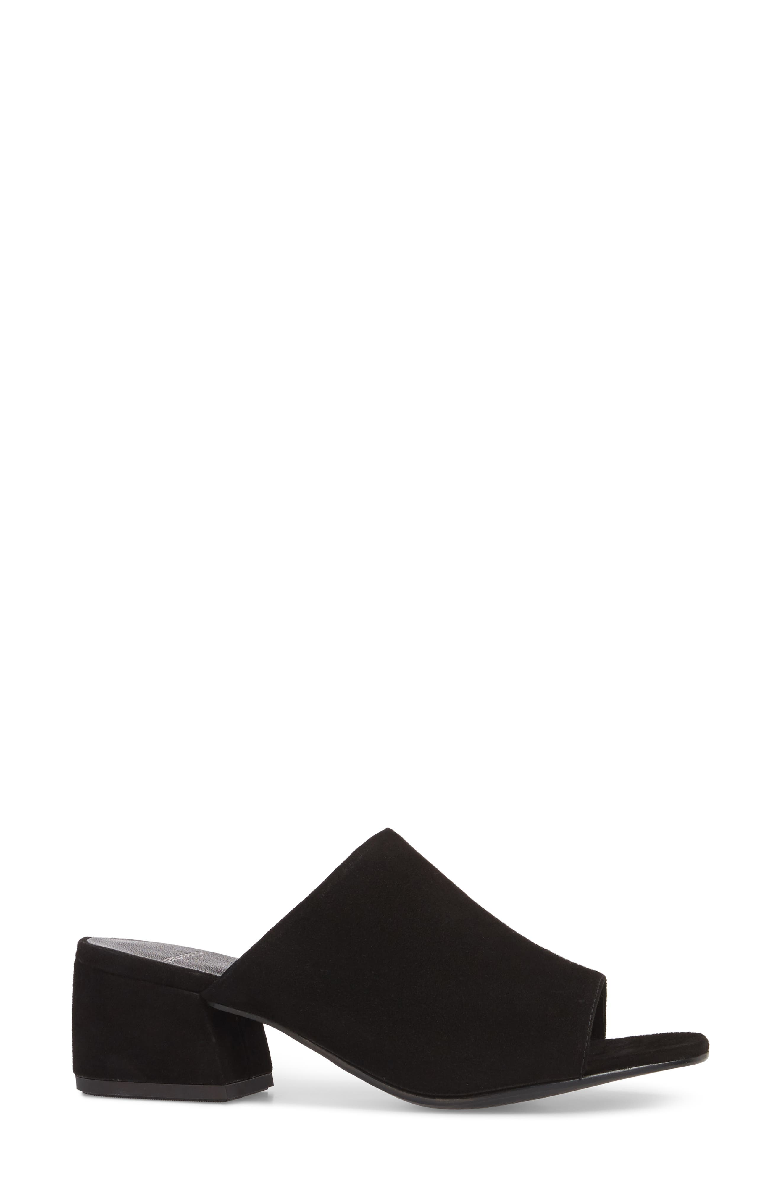 Saide Slide Sandal,                             Alternate thumbnail 3, color,                             BLACK SUEDE