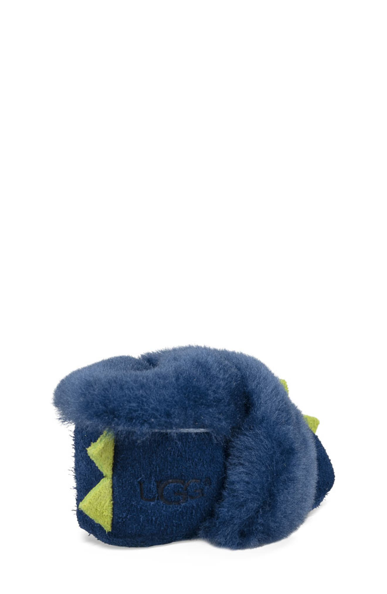 Dydo Solvi Genuine Shearling Cuffed Bootie,                             Alternate thumbnail 2, color,                             NAVY / BRIGHT CHARTREUSE