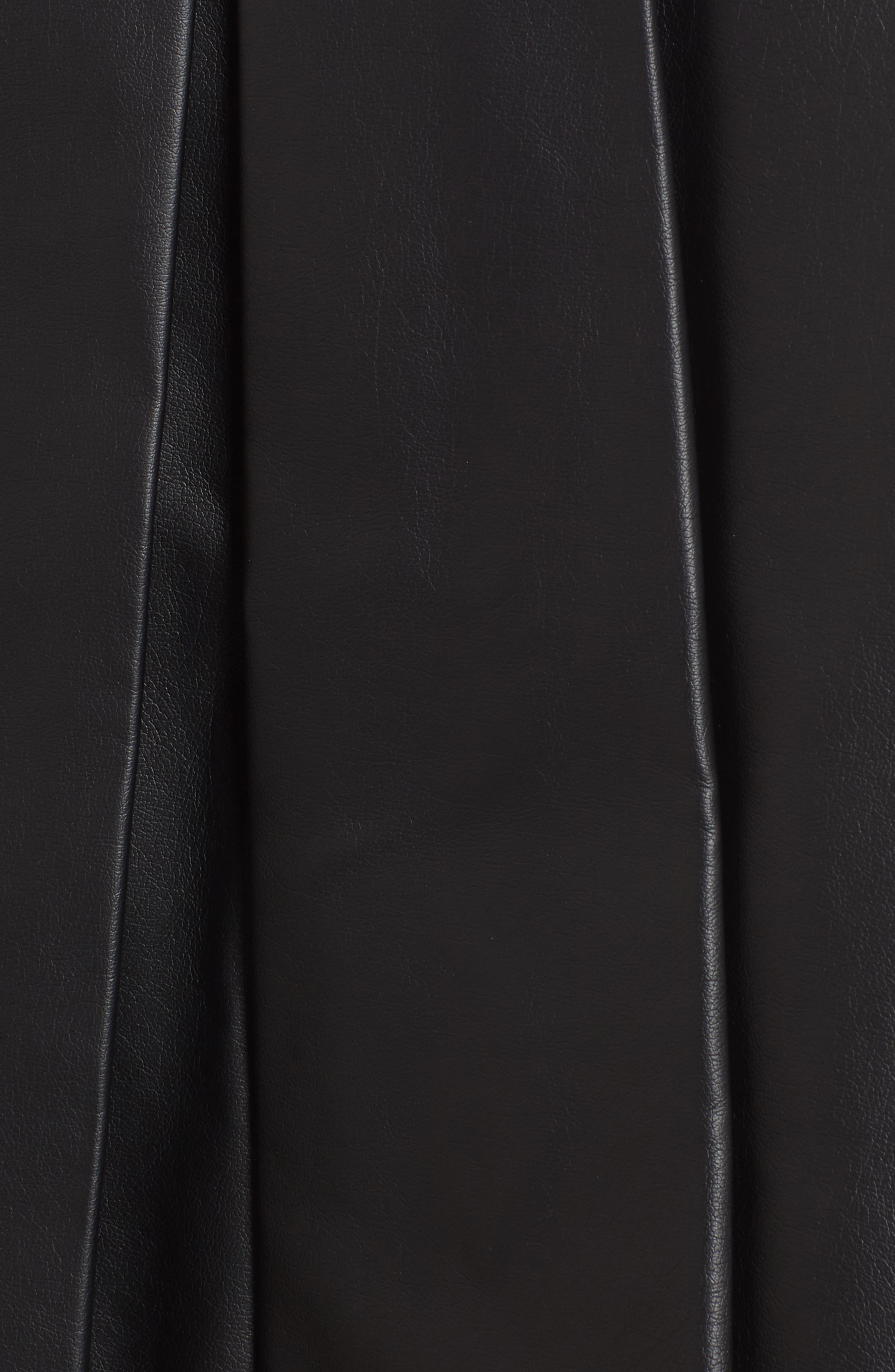 Pleat Faux Leather Skirt,                             Alternate thumbnail 5, color,                             001
