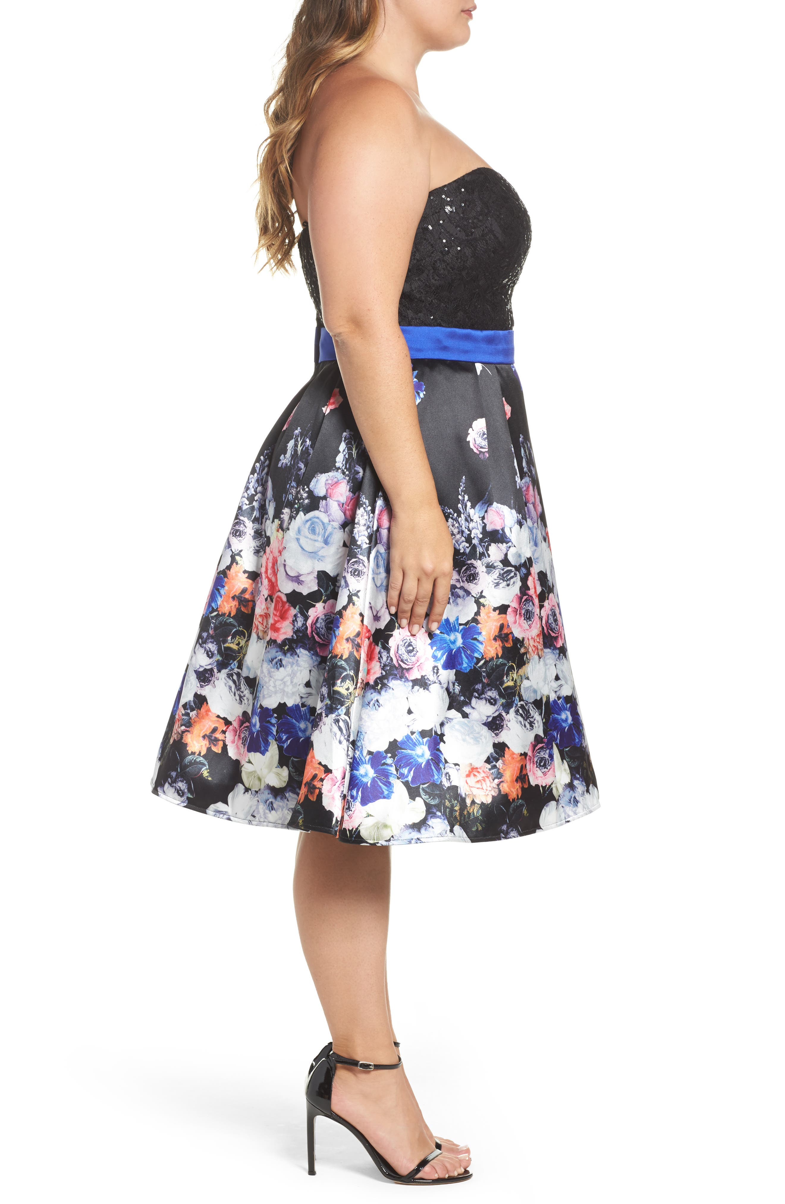 Floral Print Strapless Fit & Flare Dress,                             Alternate thumbnail 3, color,                             001