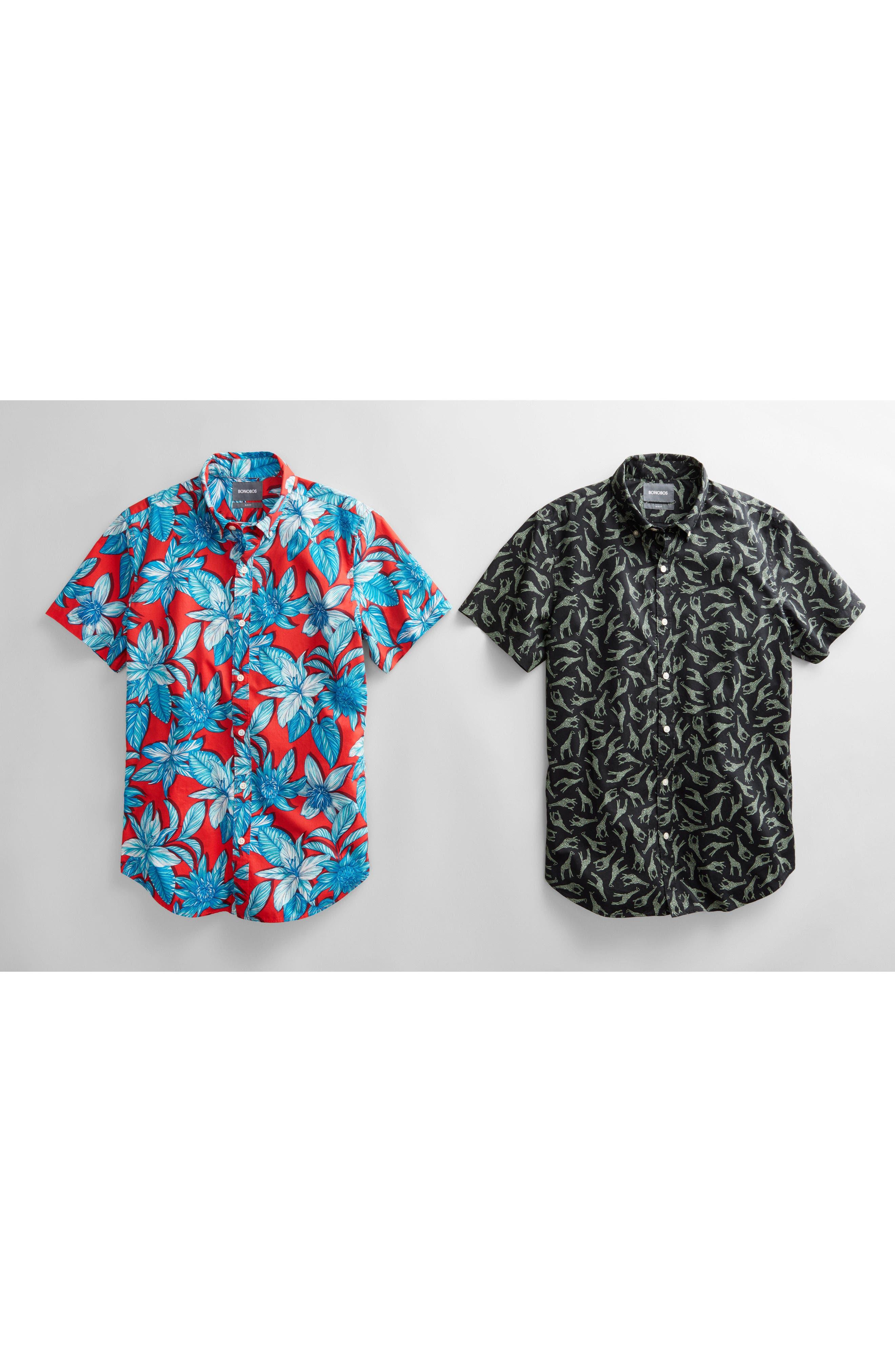 BONOBOS,                             Riviera Slim Fit Giraffe Print Sport Shirt,                             Alternate thumbnail 8, color,                             001
